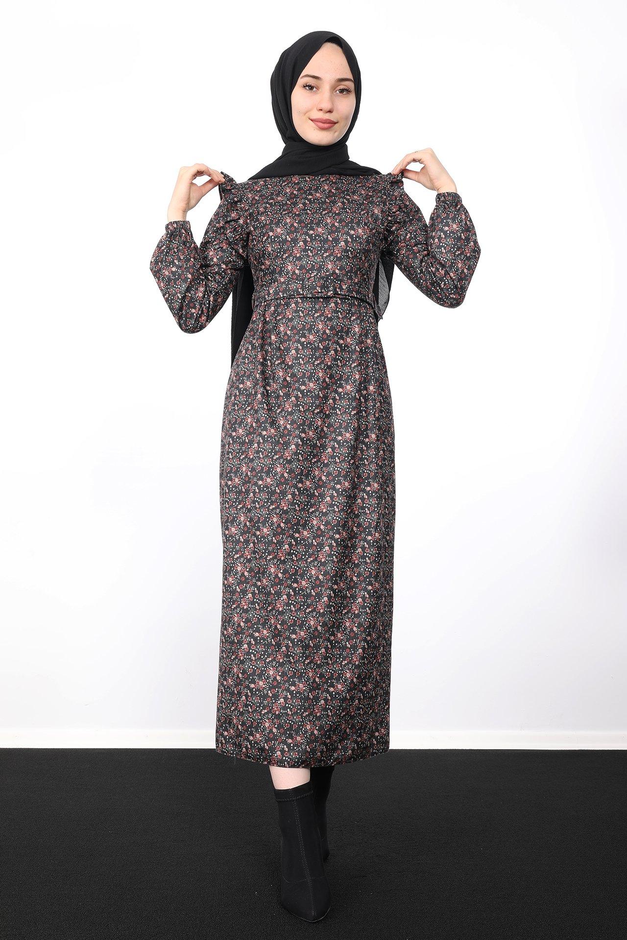 GİZAGİYİM - Çiçek Desenli Kalem Elbise Siyah