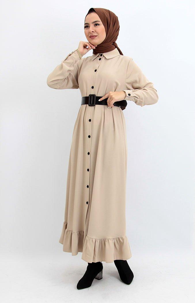 GİZAGİYİM - Altı Fırfırlı Düğmeli Tesettür Elbise Krem