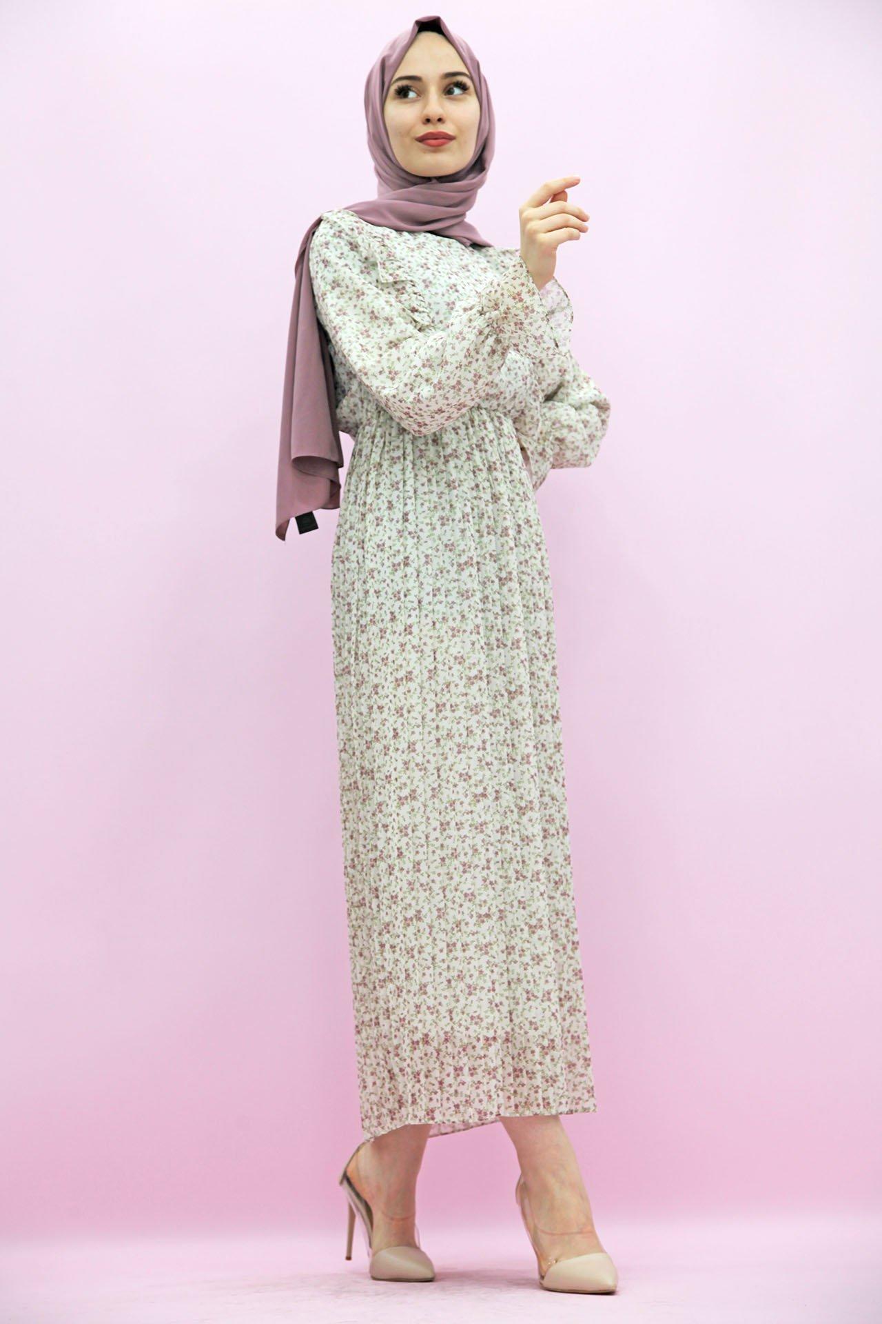 GİZAGİYİM - Çiçekli Pilisoley Elbise Pembe