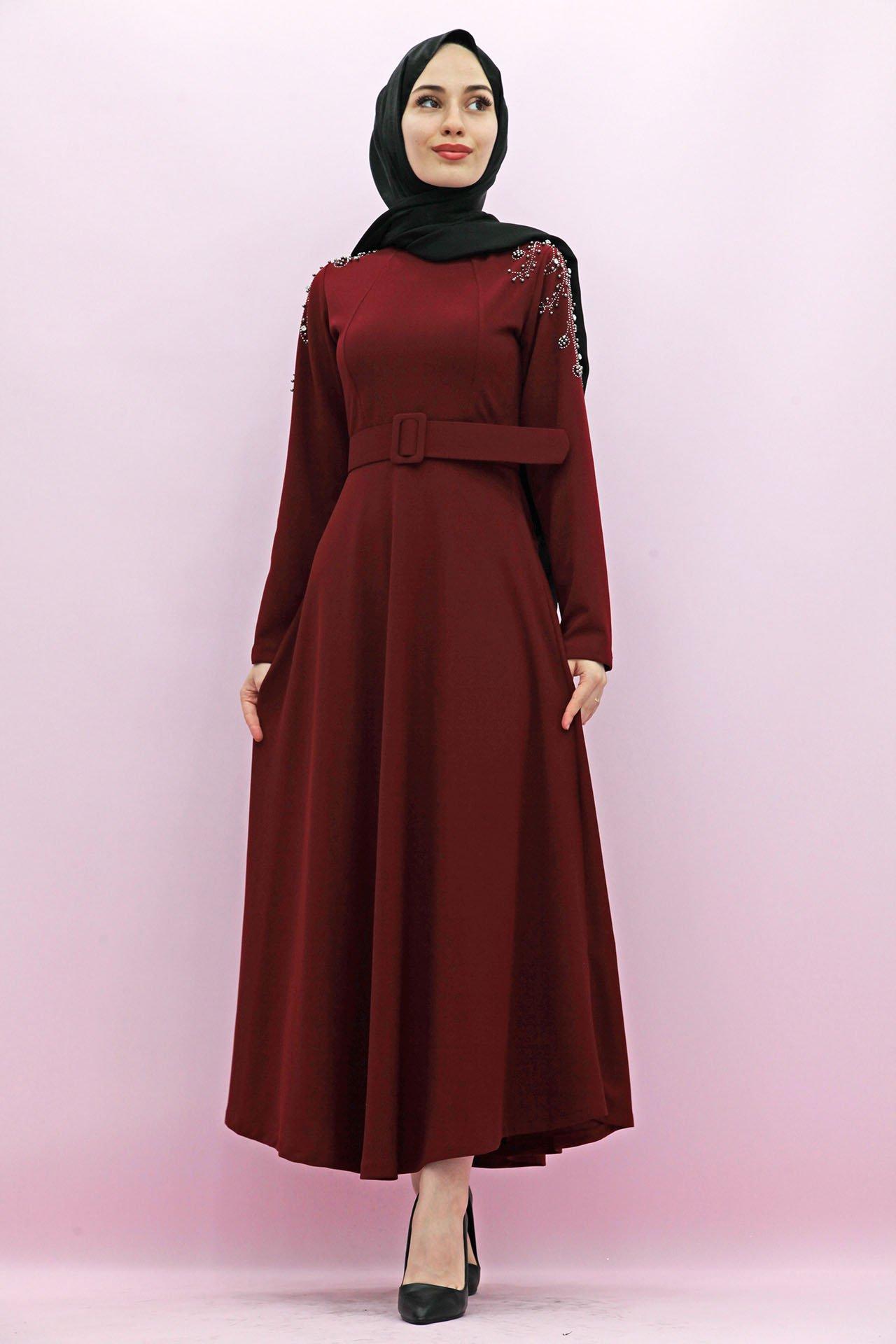 GİZAGİYİM - Kolları Boncuk İşlemeli Elbise Bordo