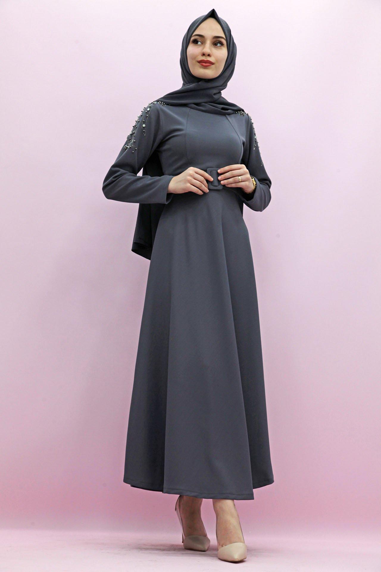 GİZAGİYİM - Giza Kolları Boncuk İşlemeli Elbise Gri