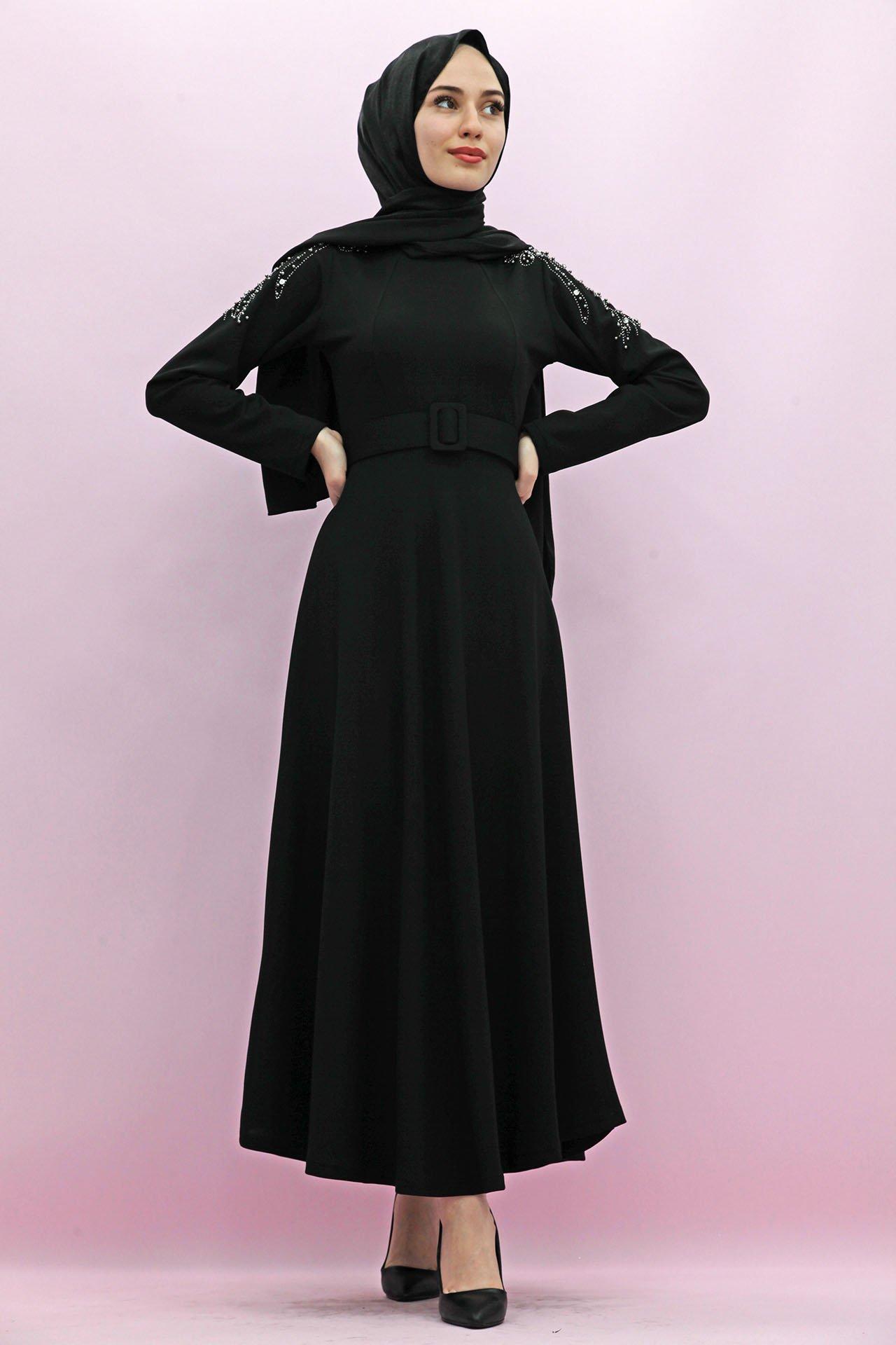 GİZAGİYİM - Giza Kolları Boncuk İşlemeli Elbise Siyah