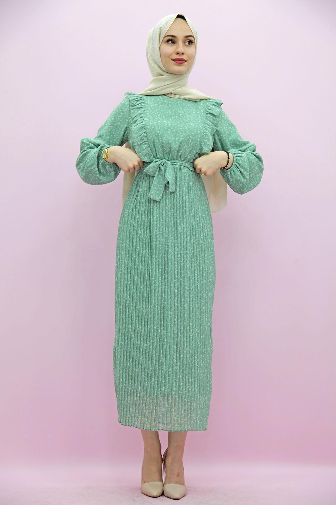 GİZAGİYİM - Fırfırlı Pilisoley Tesettür Elbise Mint