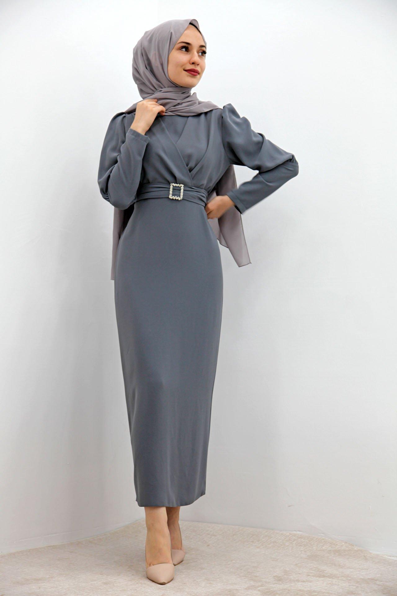 GİZAGİYİM - Önü Çapraz Kalem Elbise Gri