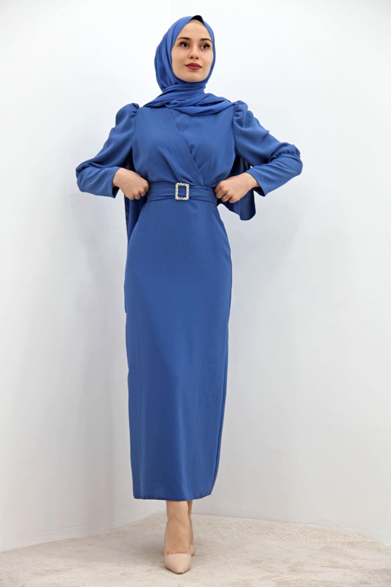 GİZAGİYİM - Önü Çapraz Kalem Elbise İndigo
