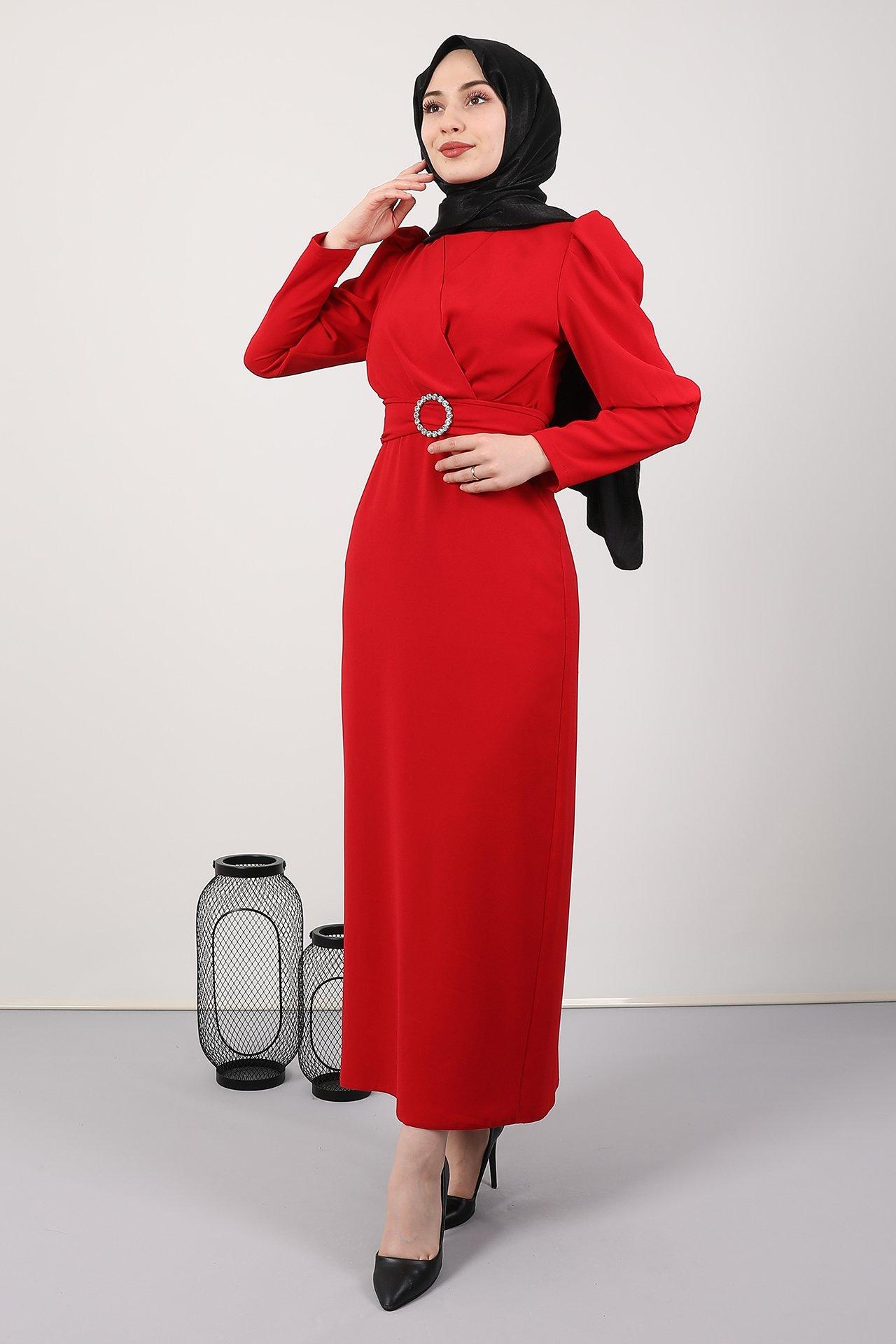 GİZAGİYİM - Önü Çapraz Kalem Elbise Kırmızı