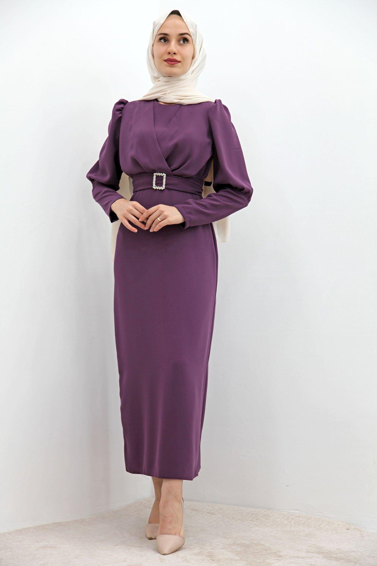 GİZAGİYİM - Önü Çapraz Kalem Elbise Mor