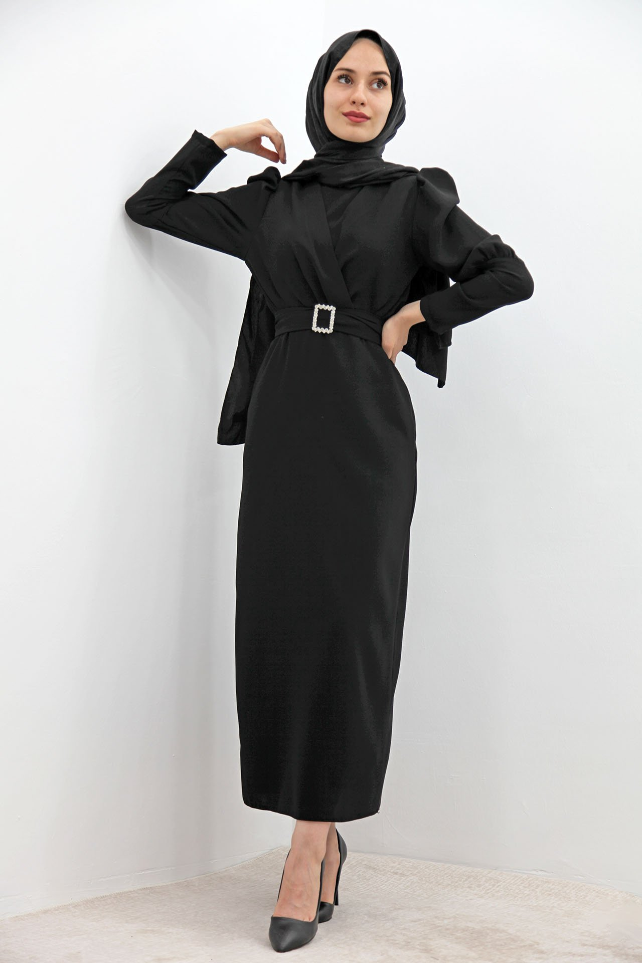 GİZAGİYİM - Önü Çapraz Kalem Elbise Siyah