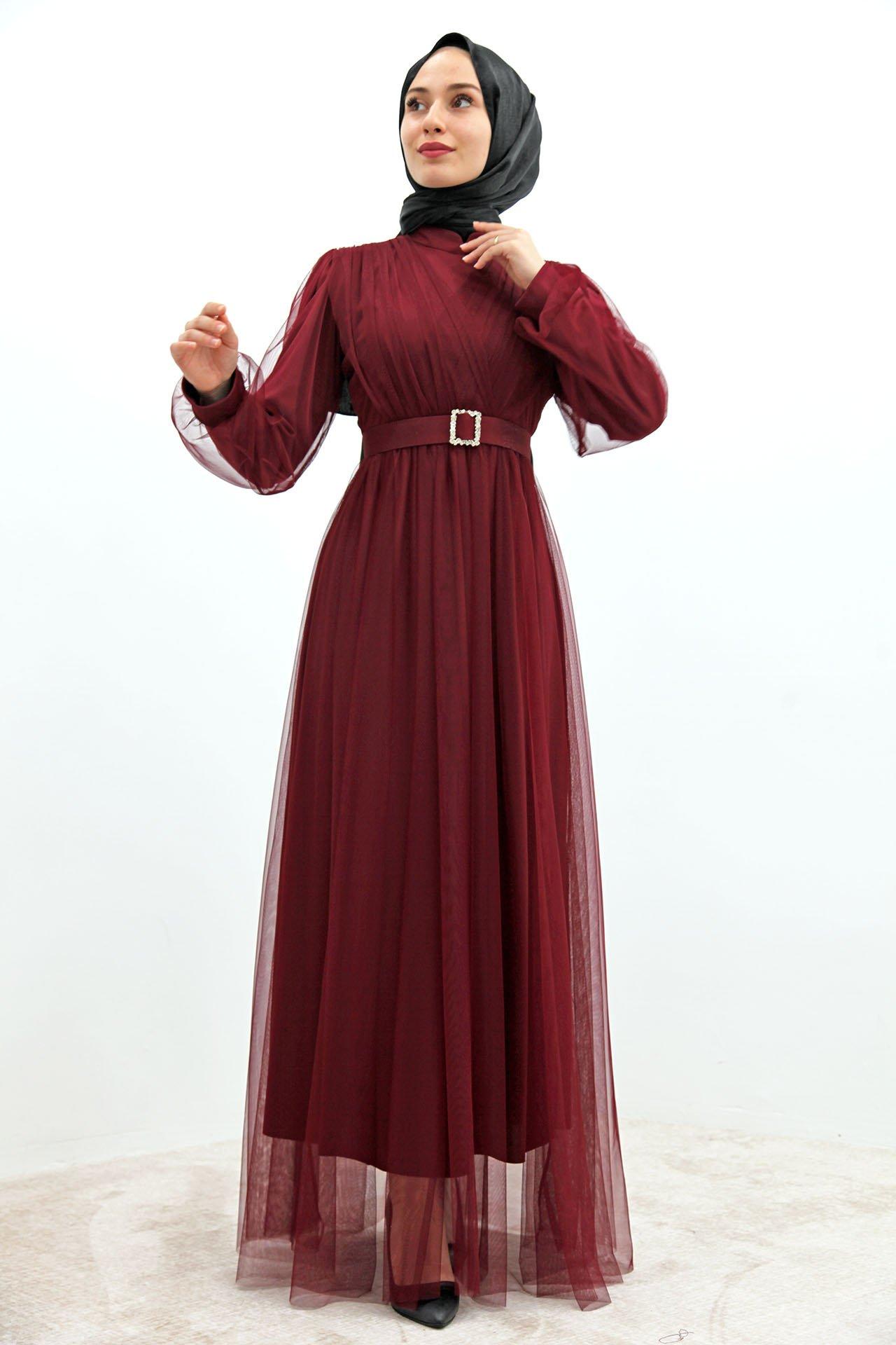 GİZAGİYİM - Önü Çapraz Tül Elbise Bordo