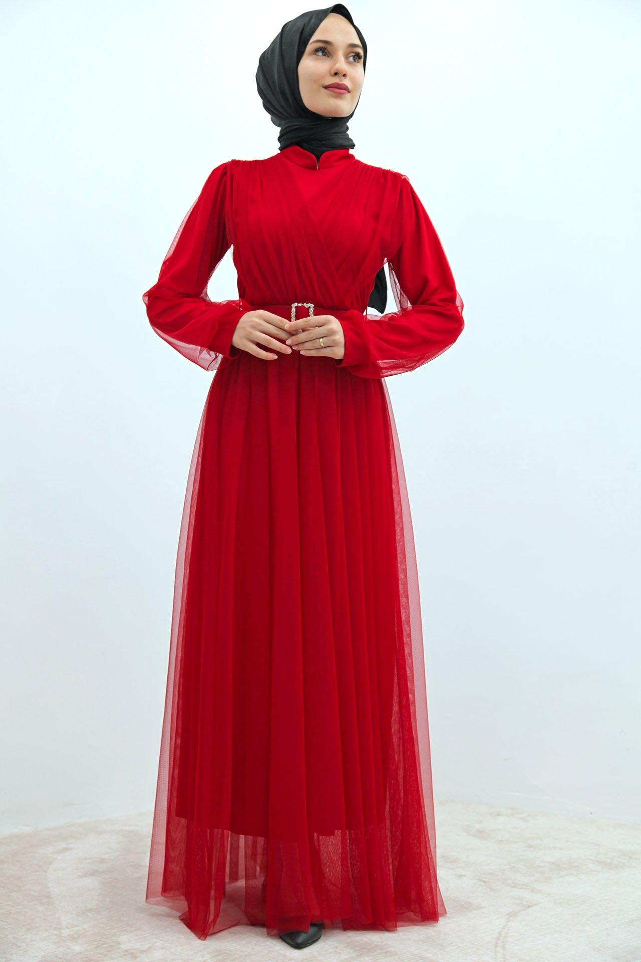 GİZAGİYİM - Önü Çapraz Tül Elbise Kırmızı