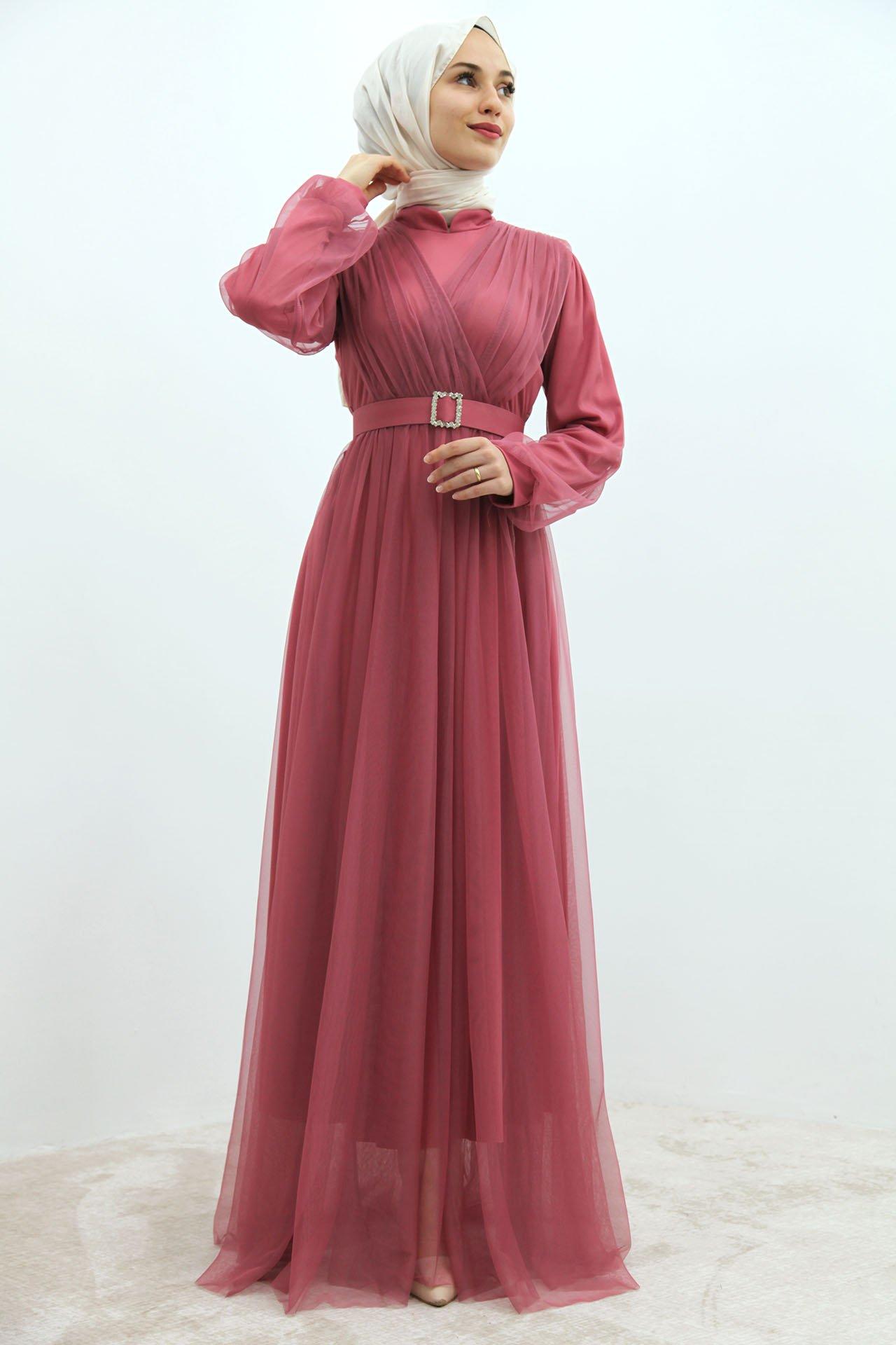 GİZAGİYİM - Önü Çapraz Tül Elbise Pembe