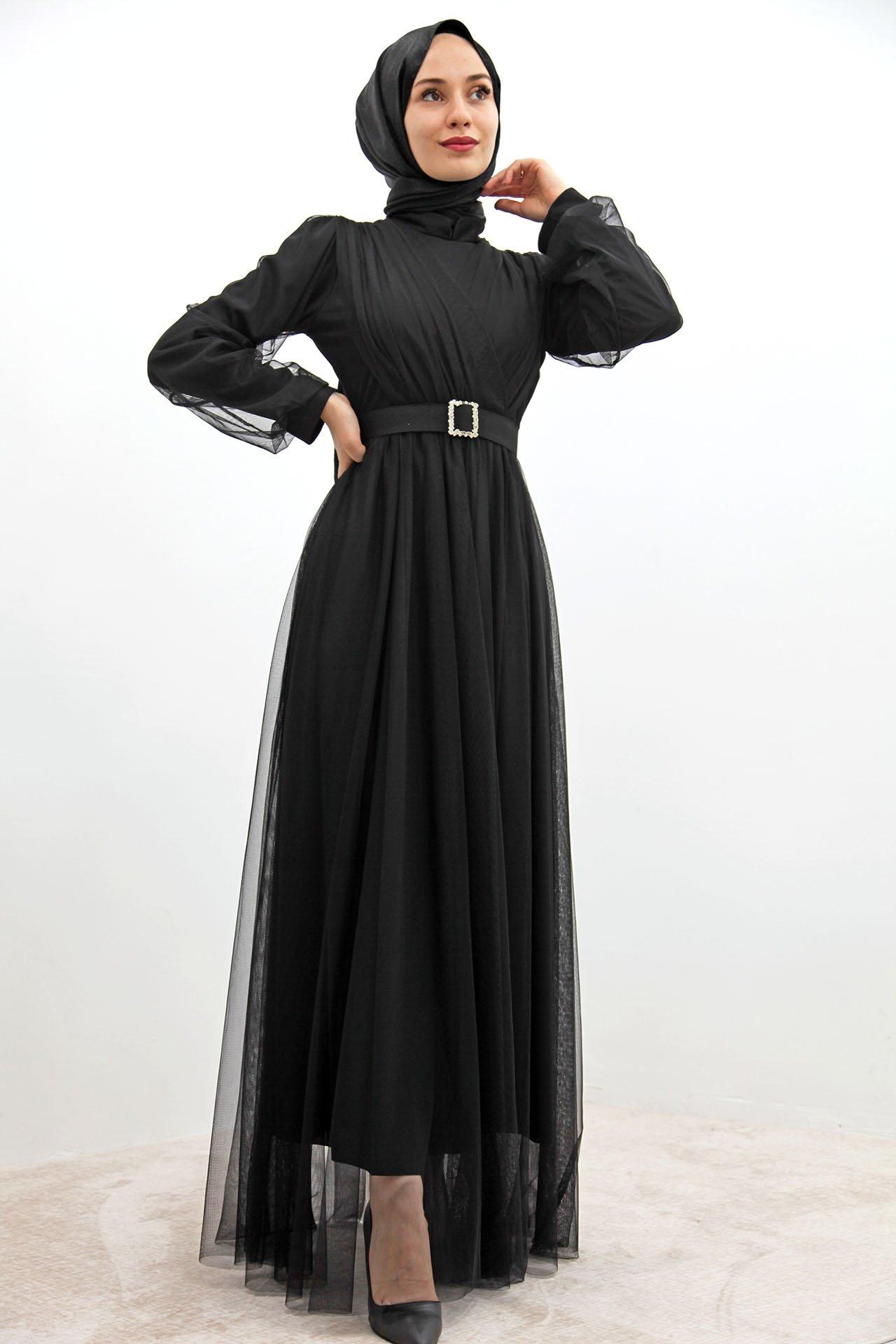 GİZAGİYİM - Önü Çapraz Tül Elbise Siyah