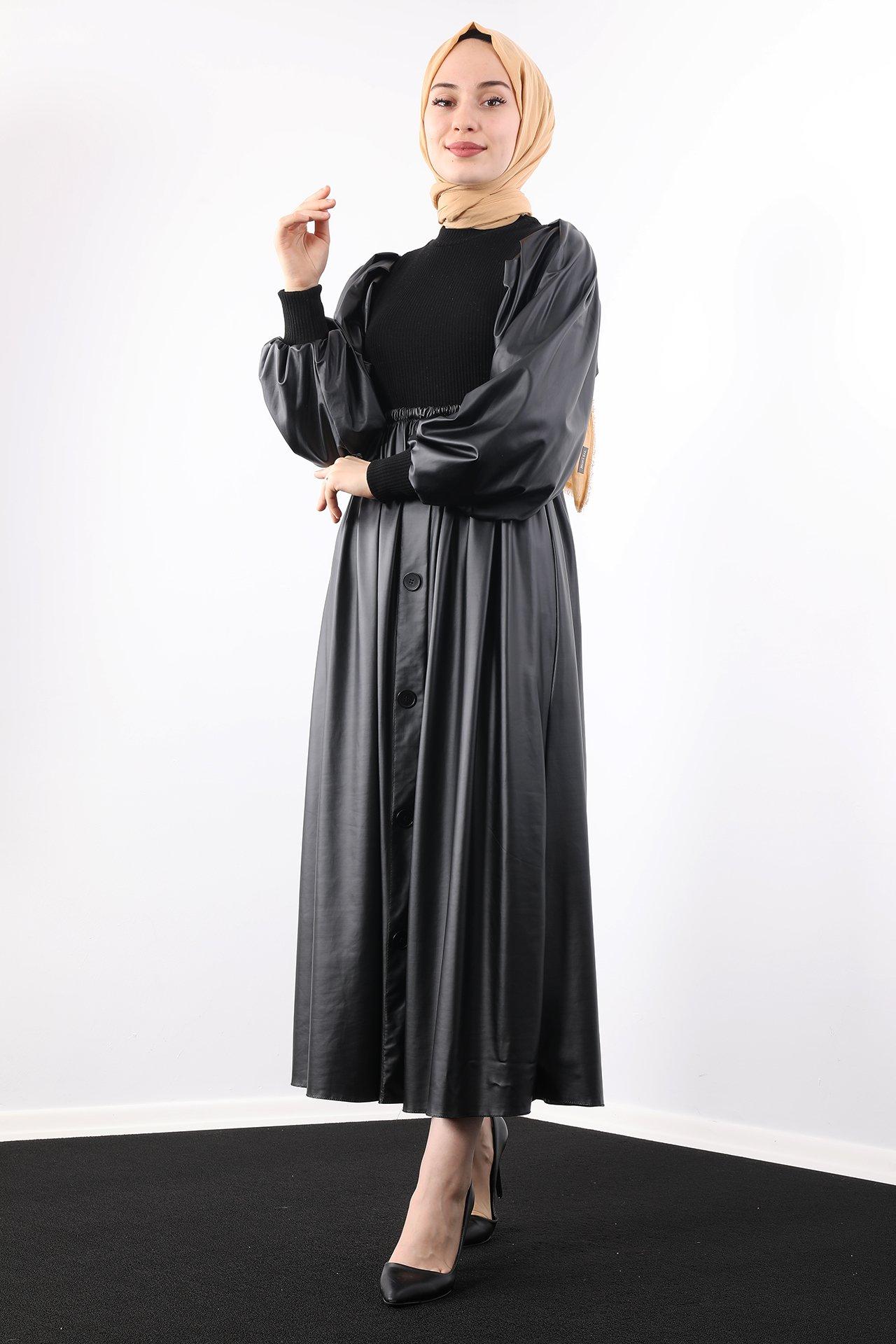 GİZAGİYİM - Triko Deri Tesettür Elbise Siyah