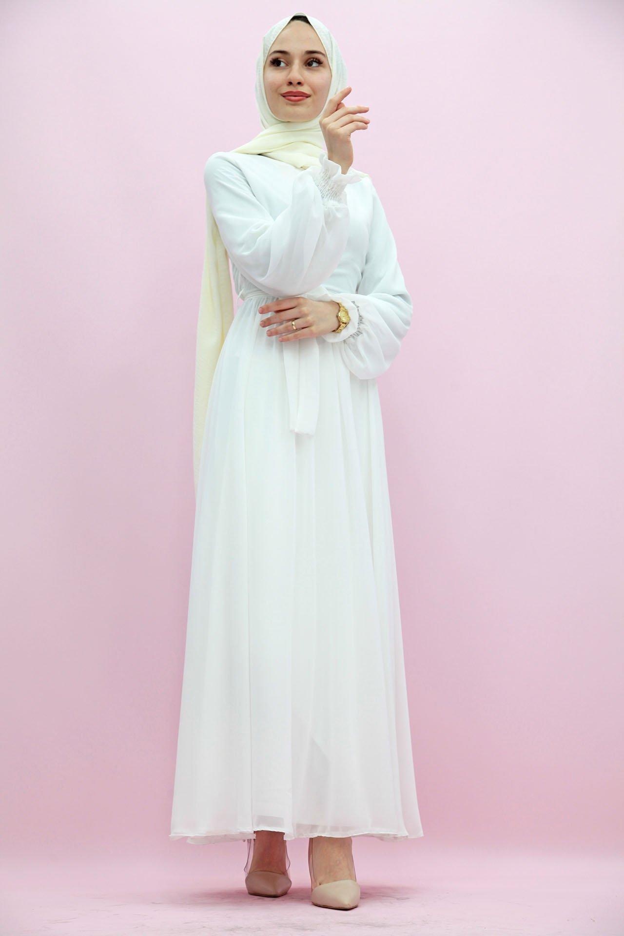GİZAGİYİM - Bisiklet Yaka Şifon Elbise Beyaz