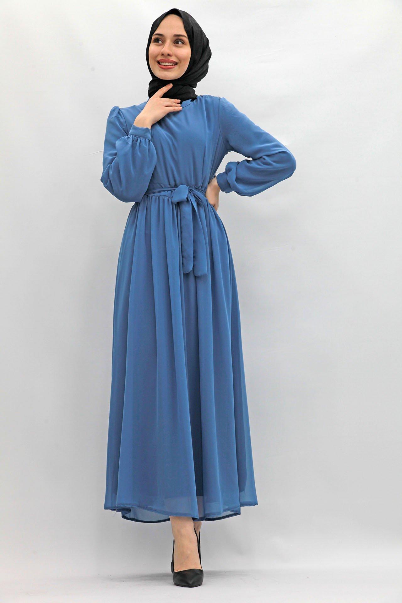 GİZAGİYİM - Kol Ucu Manşetli Şifon Elbise İndigo
