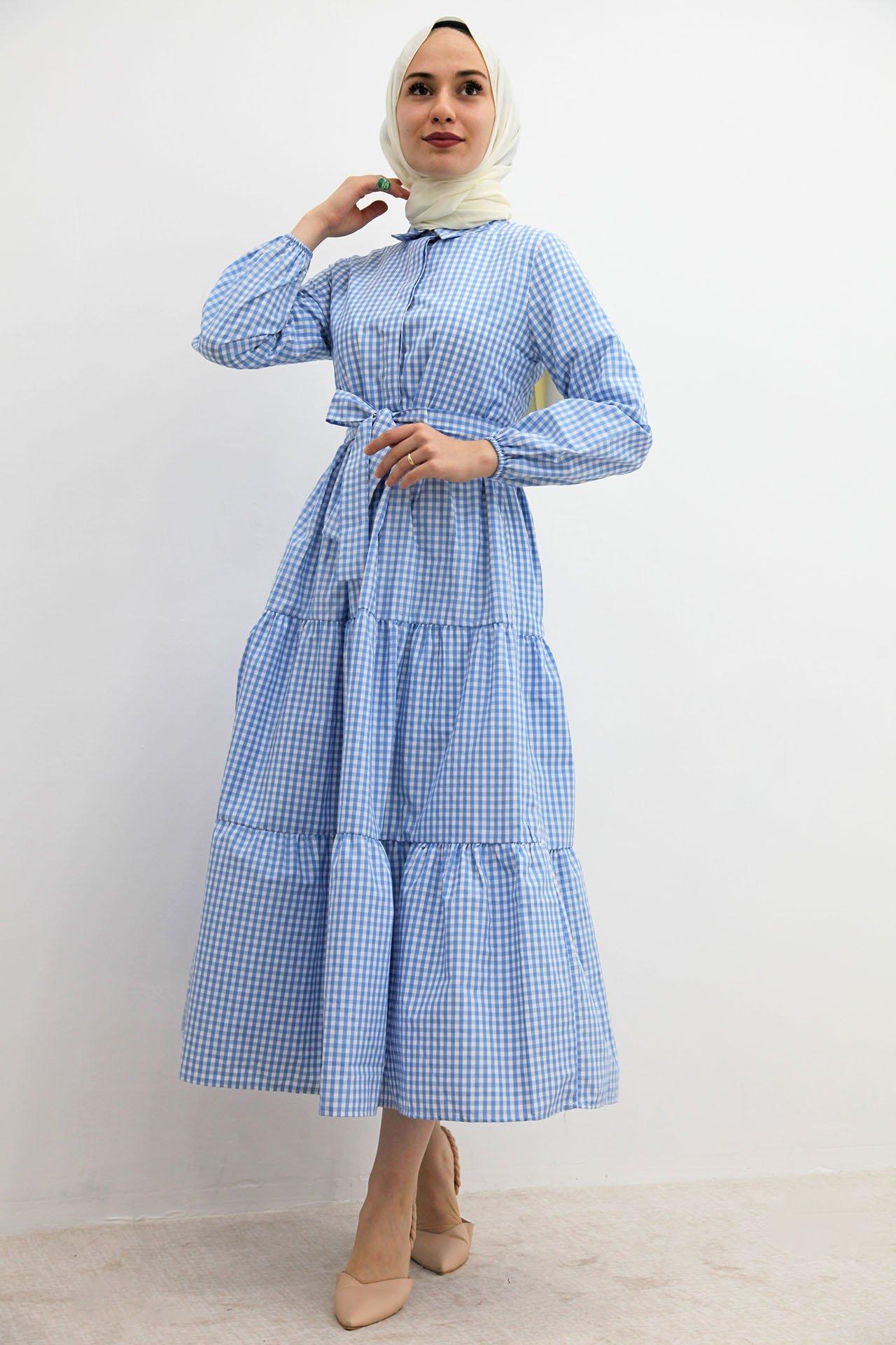 GİZAGİYİM - Önü Düğmeli Pötikare Elbise Mavi