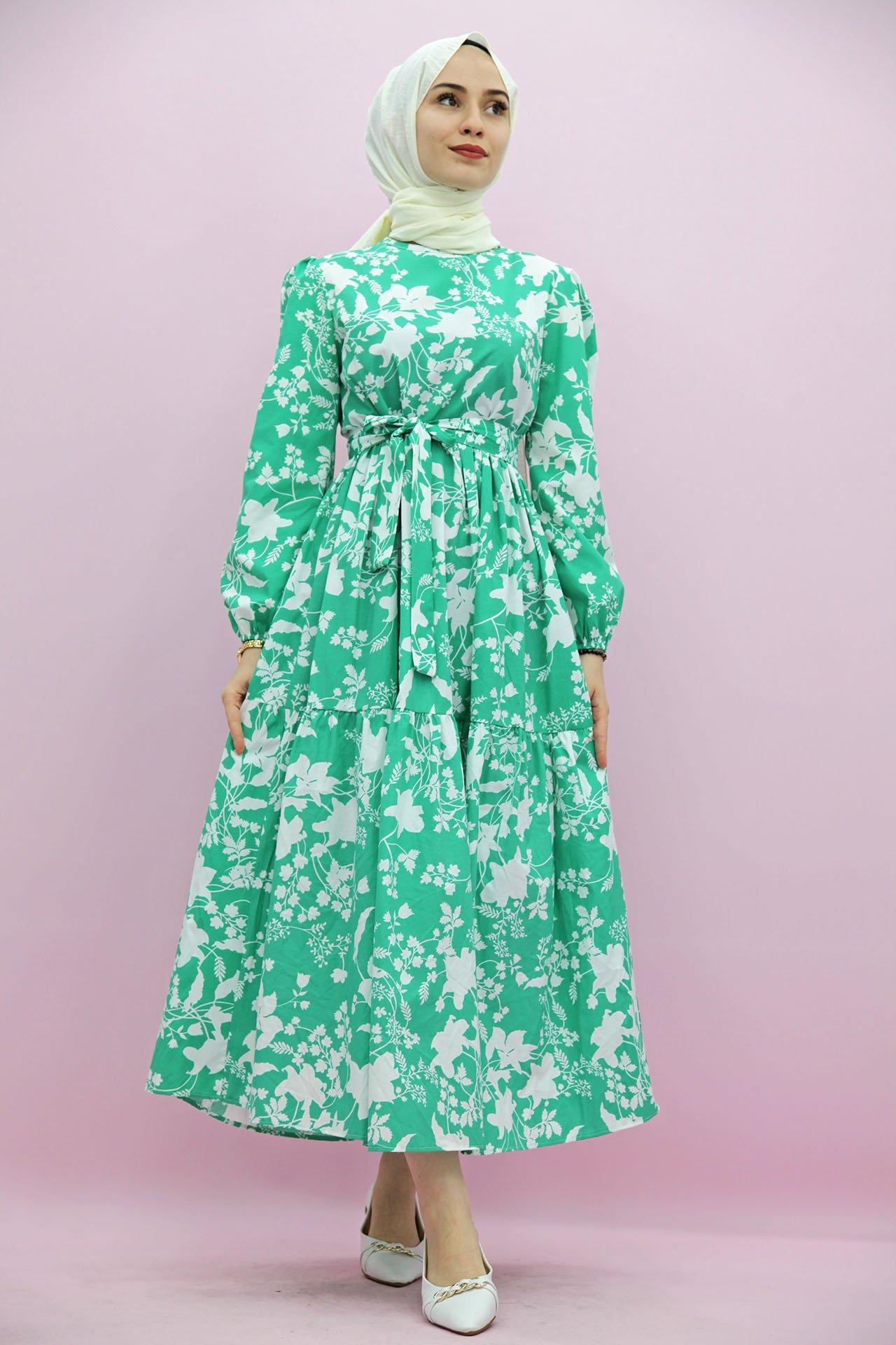 GİZAGİYİM - Giza Floral Desenli Elbise Yeşil
