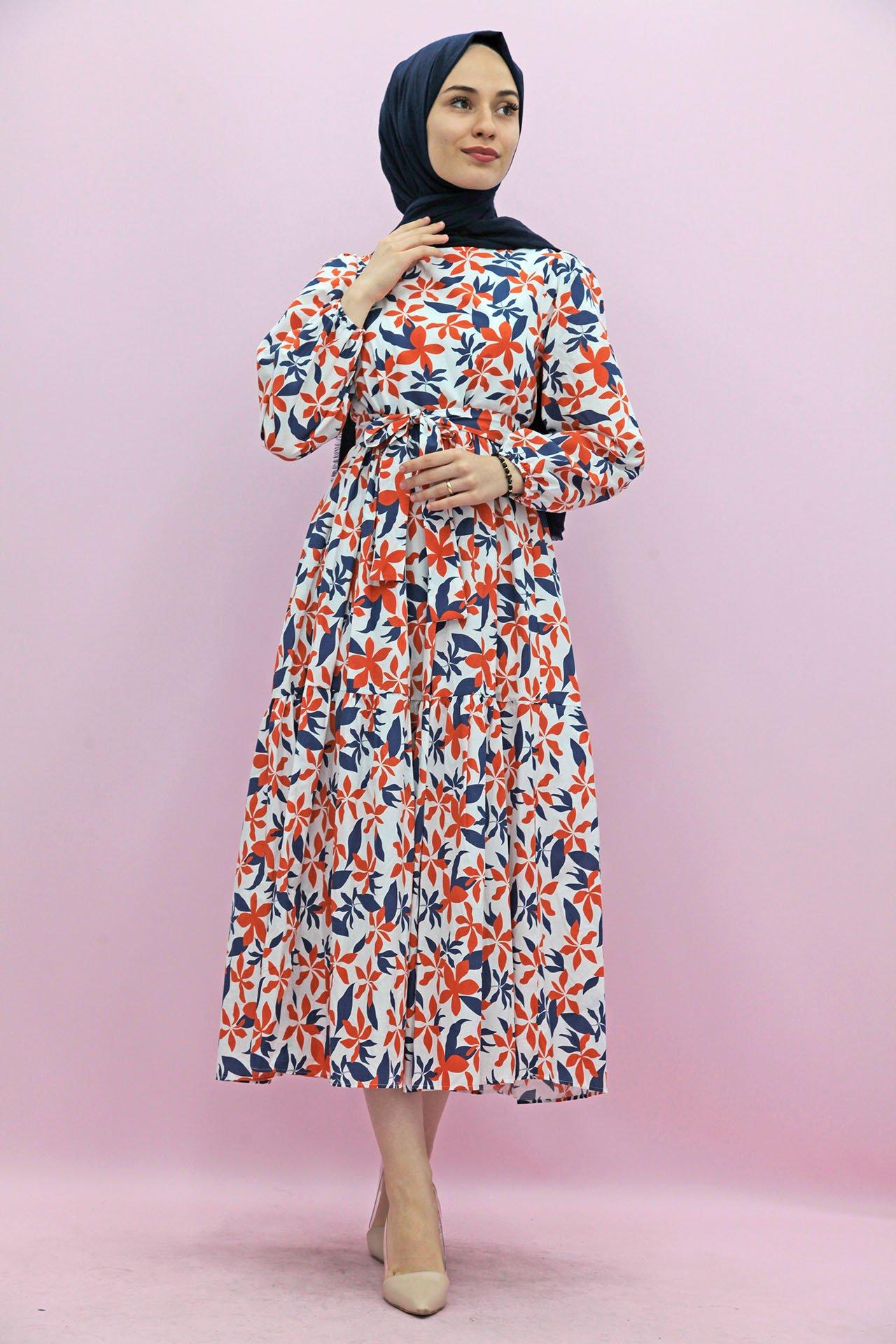 GİZAGİYİM - Giza Desenli Lacivert-Turuncu Tesettür Elbise