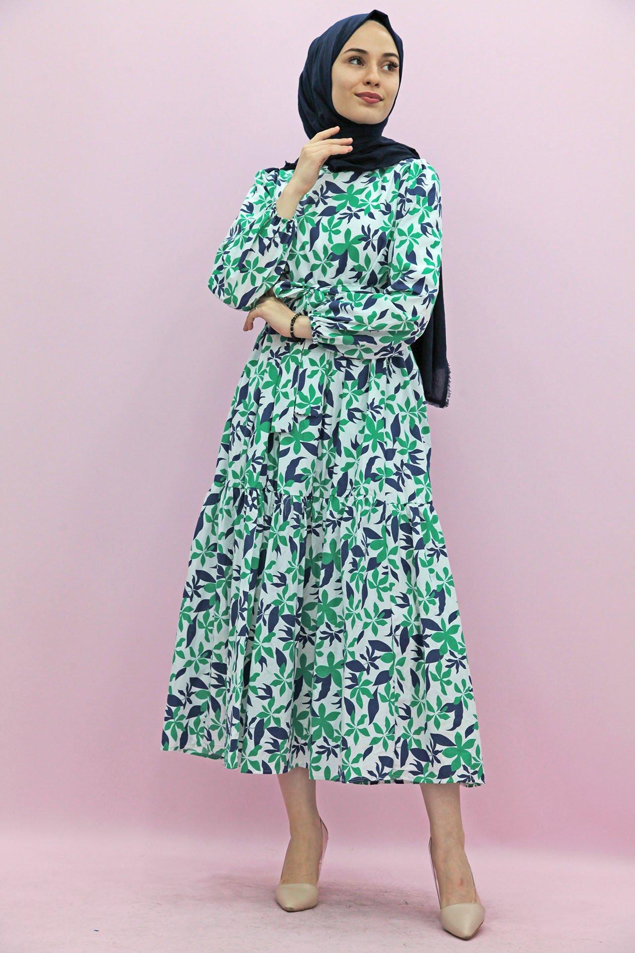 GİZAGİYİM - Giza Desenli Mavi-Yeşil Tesettür Elbise
