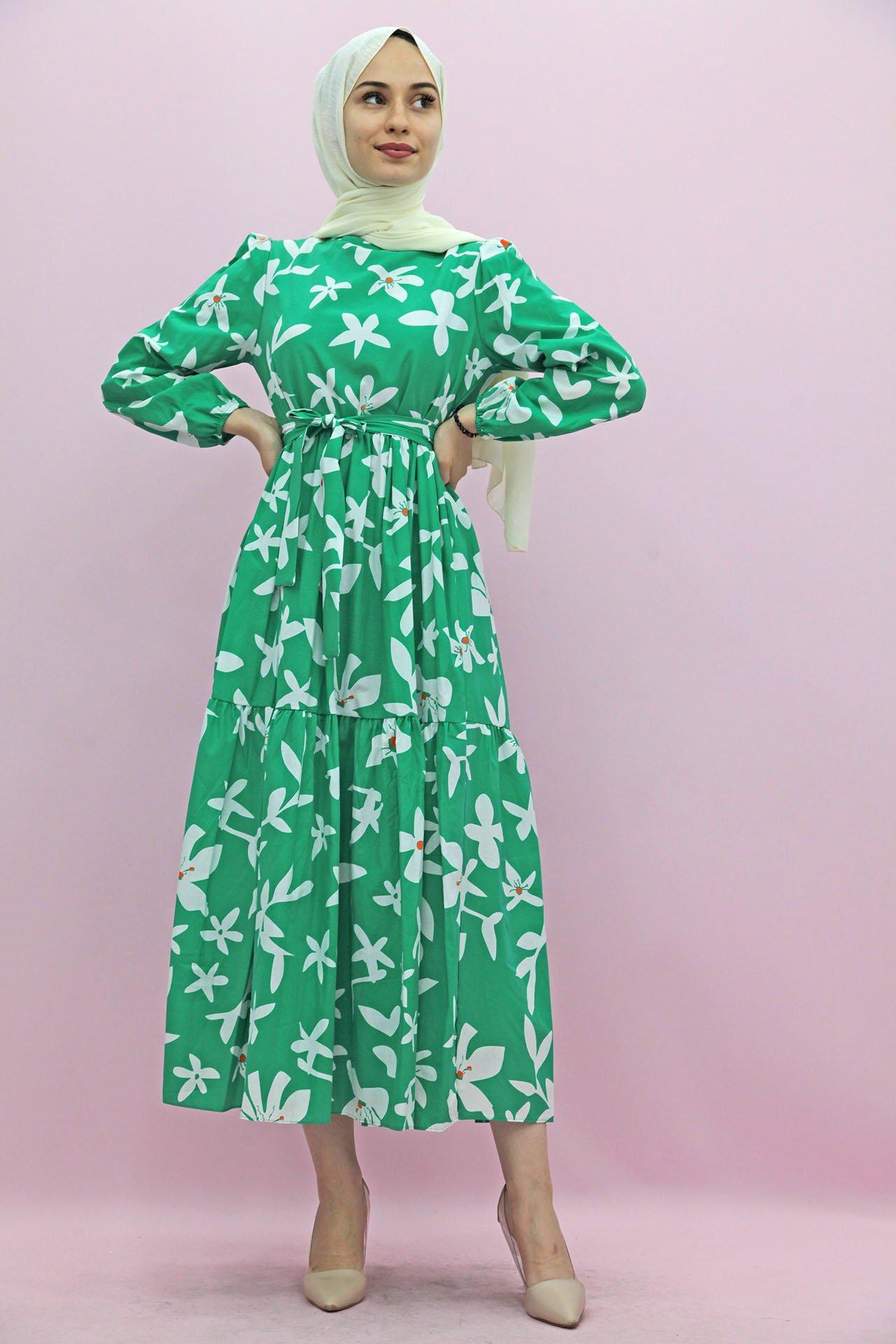 GİZAGİYİM - Giza Kuşaklı Katlı Elbise Yeşil