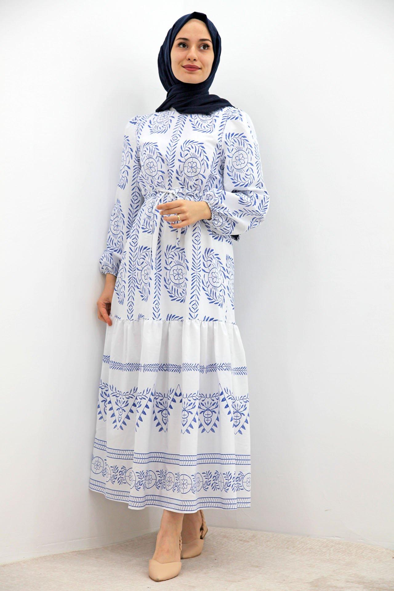 GİZAGİYİM - Belden İpli Motifli Elbise Lacivert
