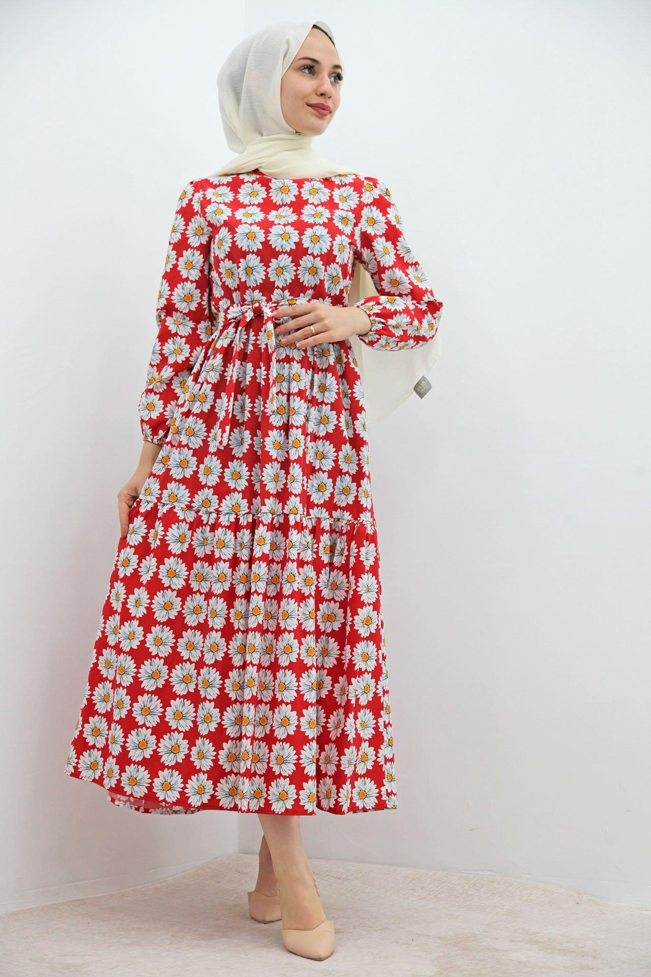 GİZAGİYİM - Beyaz Papatyalı Elbise Kırmızı