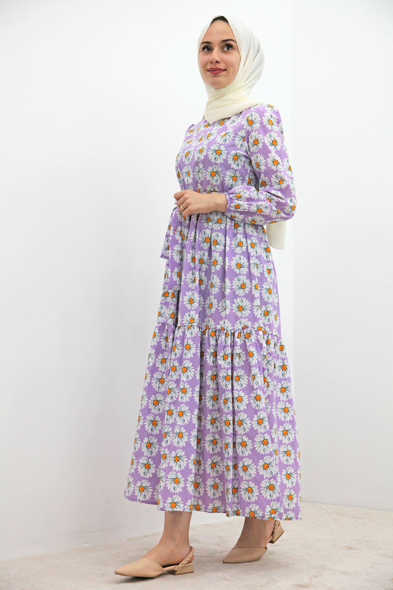 GİZAGİYİM - Beyaz Papatyalı Elbise Lila