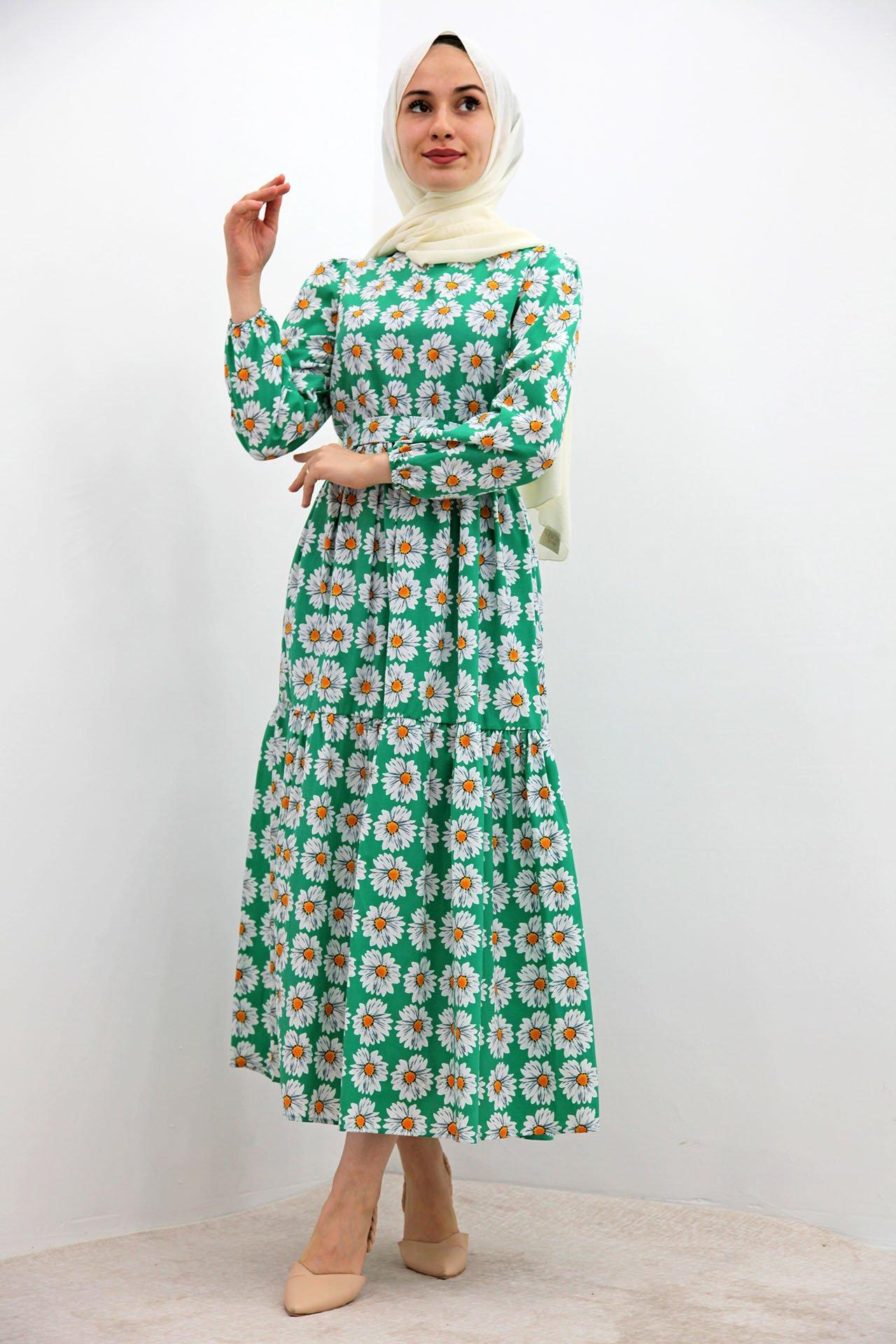 Beyaz Papatyalı Elbise Yeşil - Thumbnail