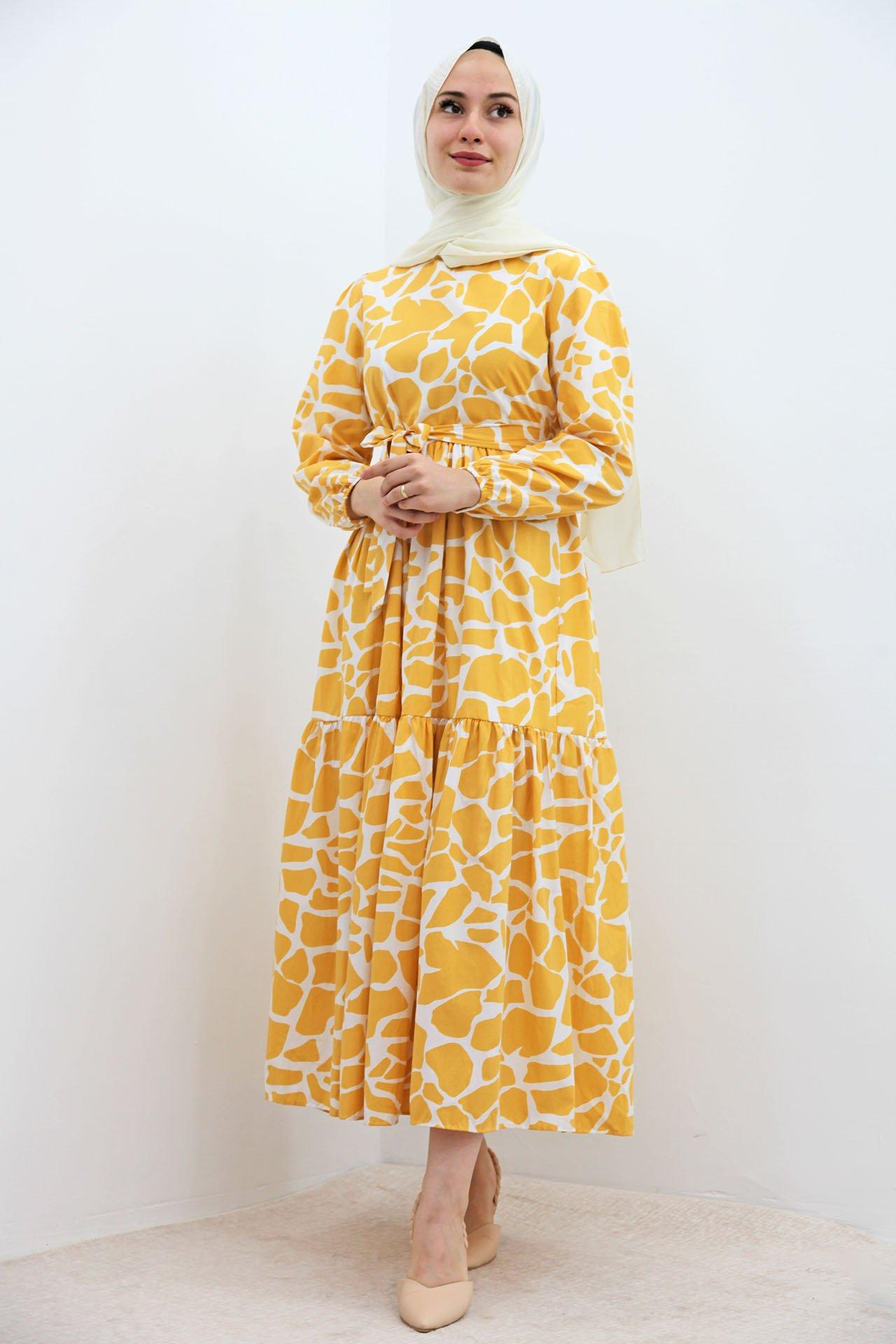 GİZAGİYİM - Desenli Fırfırlı Tesettür Elbise Sarı