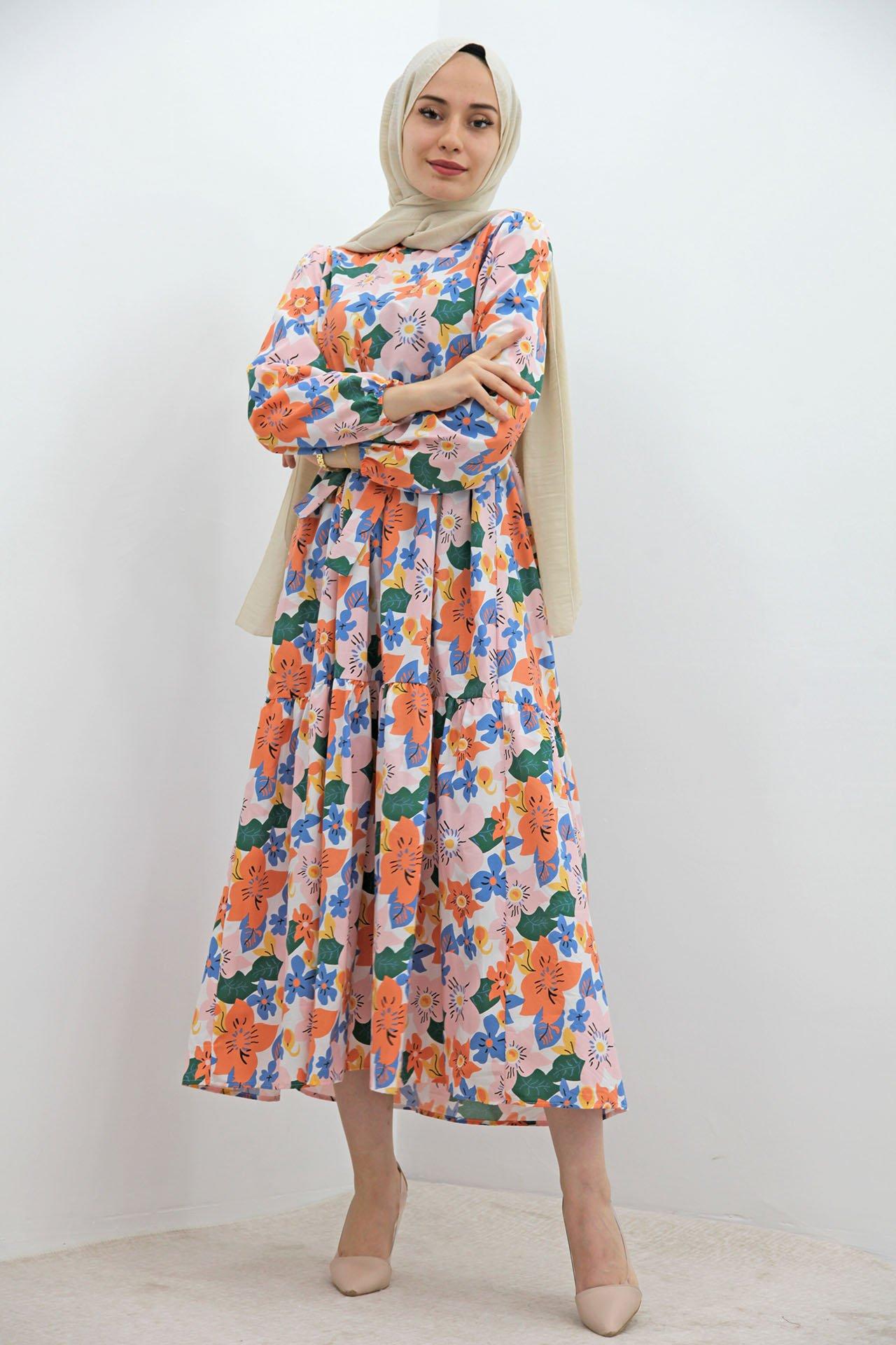 GİZAGİYİM - Renkli Çiçekli Elbise Pudra