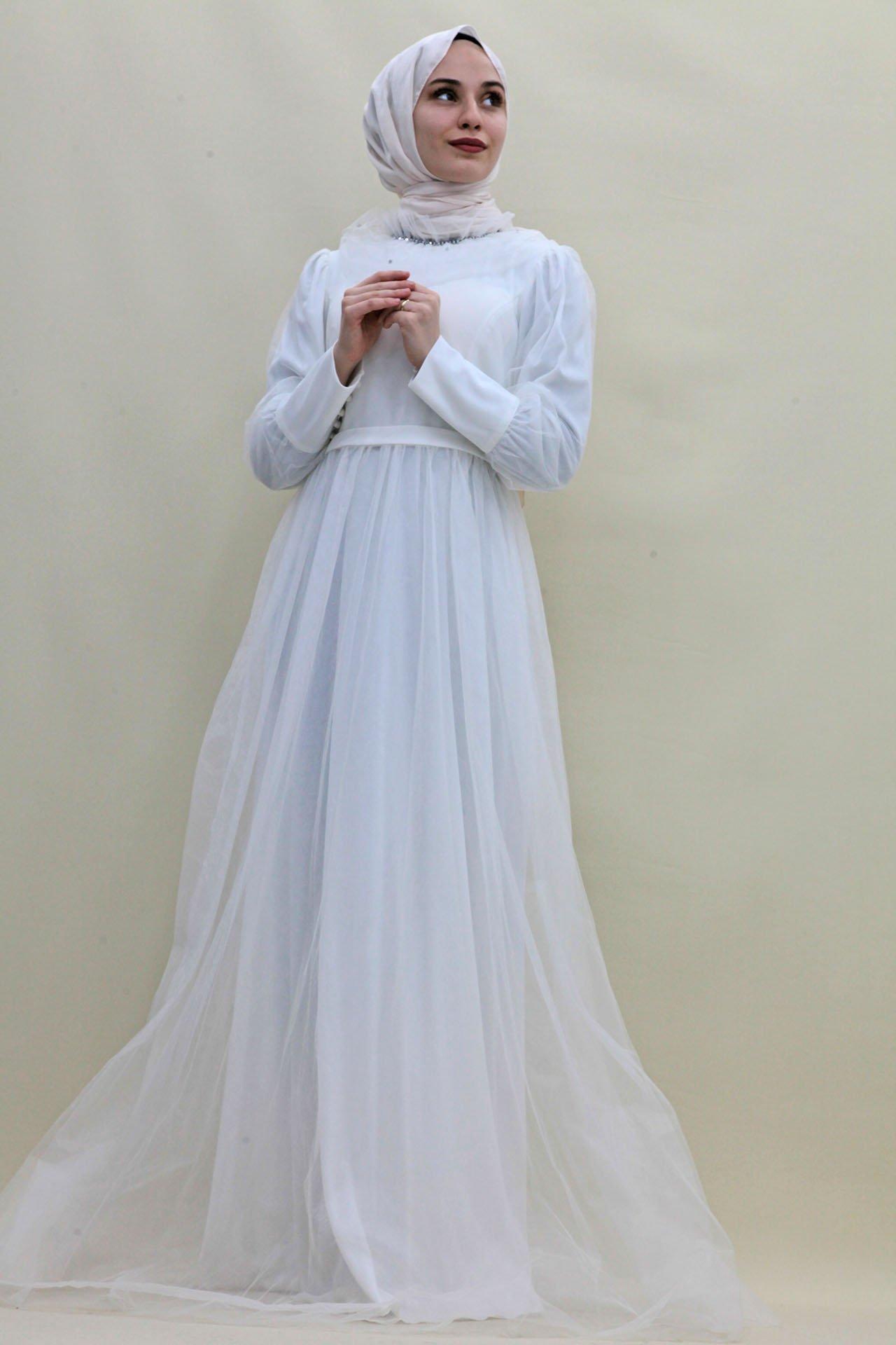 GİZAGİYİM - Boncuk İşlemeli Tül Abiye Beyaz