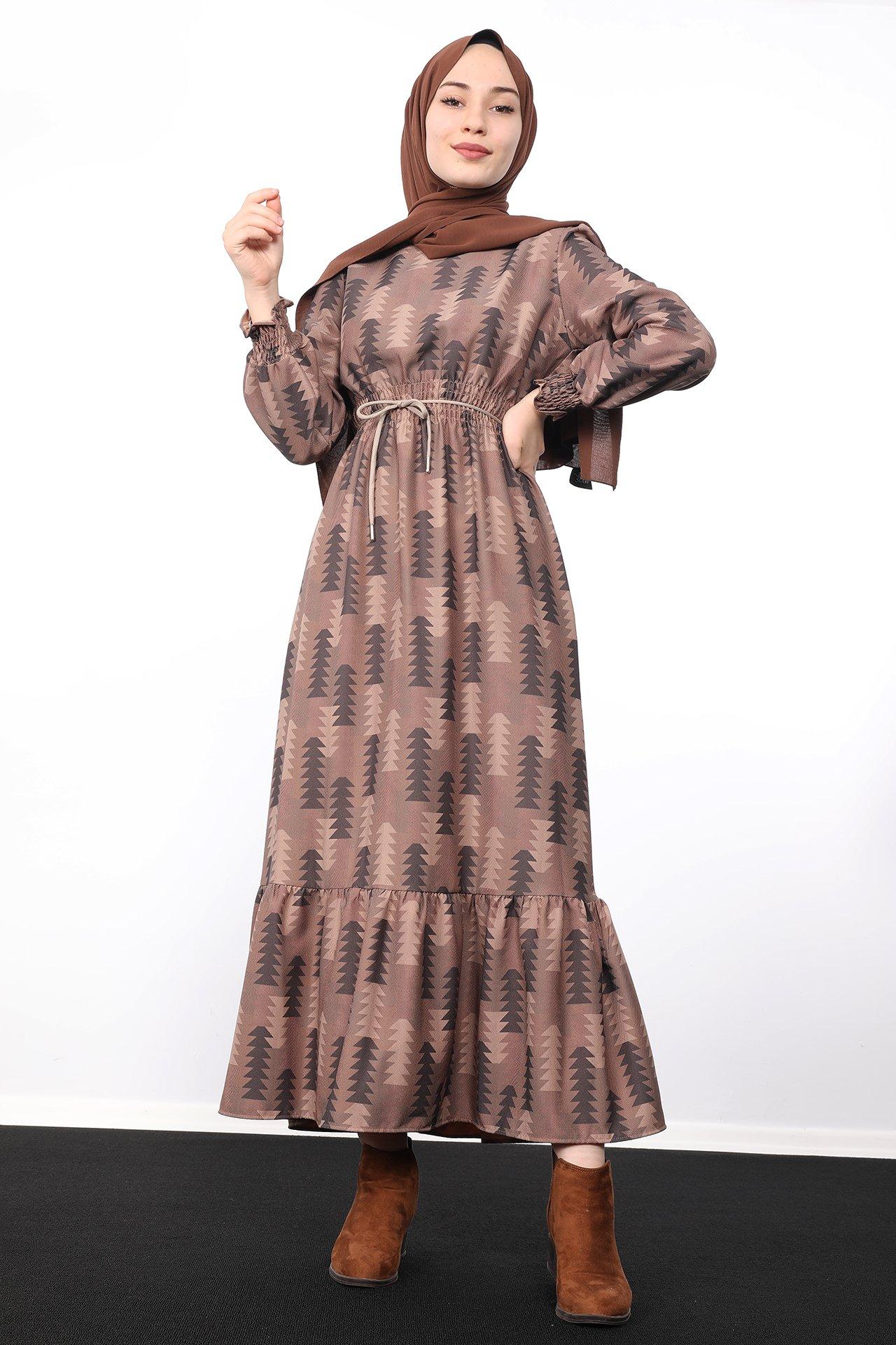 GİZAGİYİM - Beli Lastikli Desenli Elbise Antrasit
