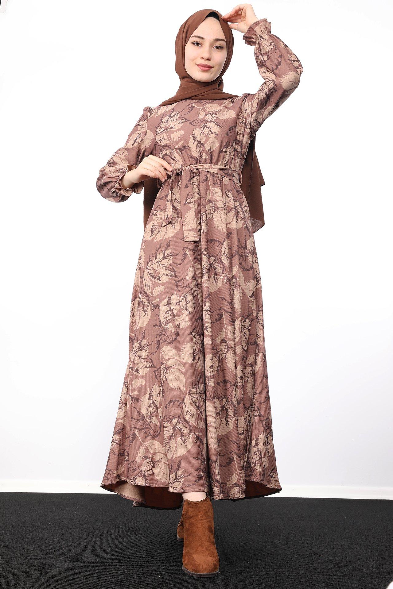 GİZAGİYİM - Yaprak Desenli Elbise Gül Kahve