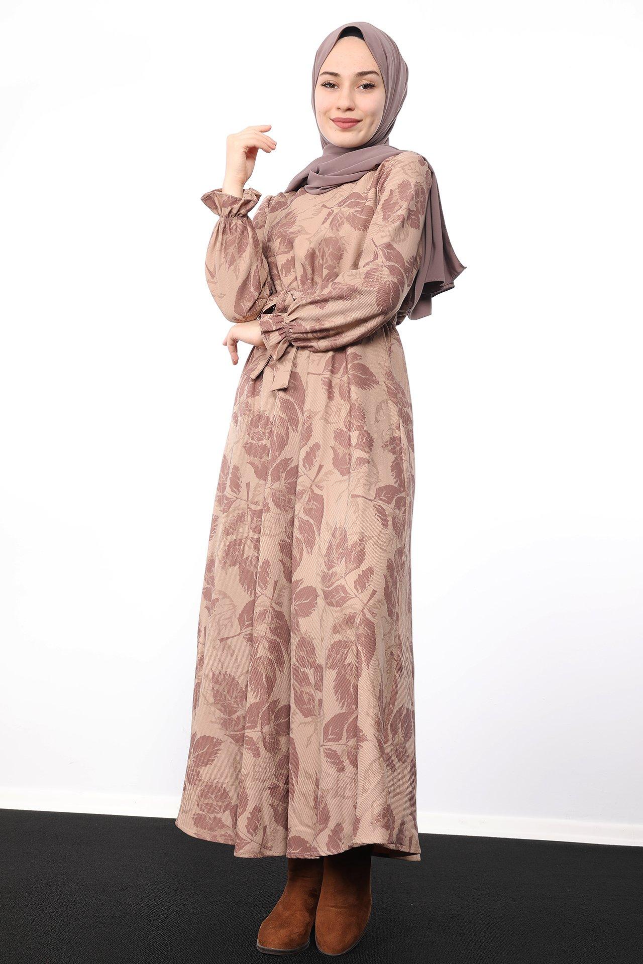 GİZAGİYİM - Yaprak Desenli Elbise Sütlükahve