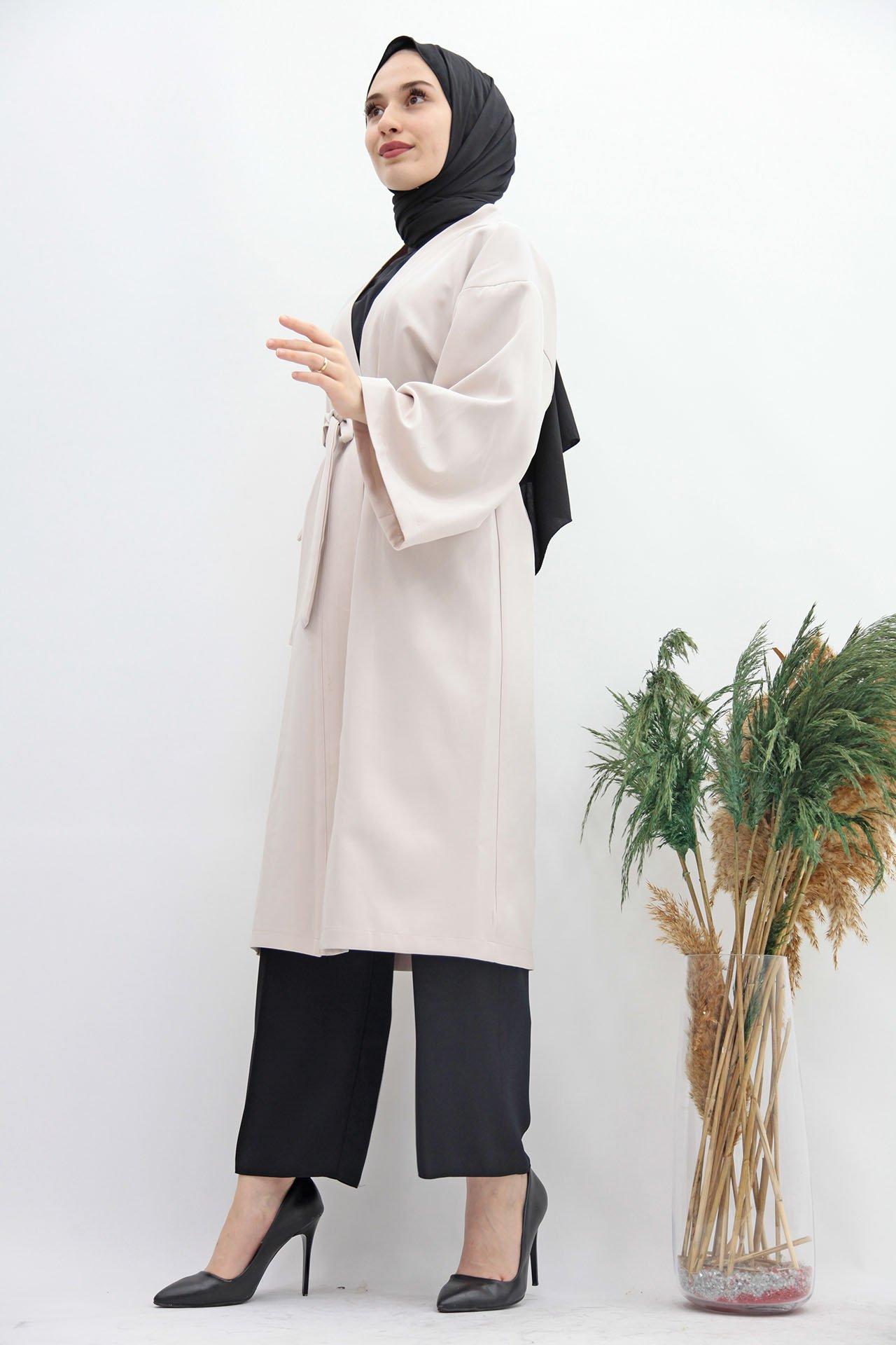 GİZAGİYİM - Kuşaklı Kimono Bej