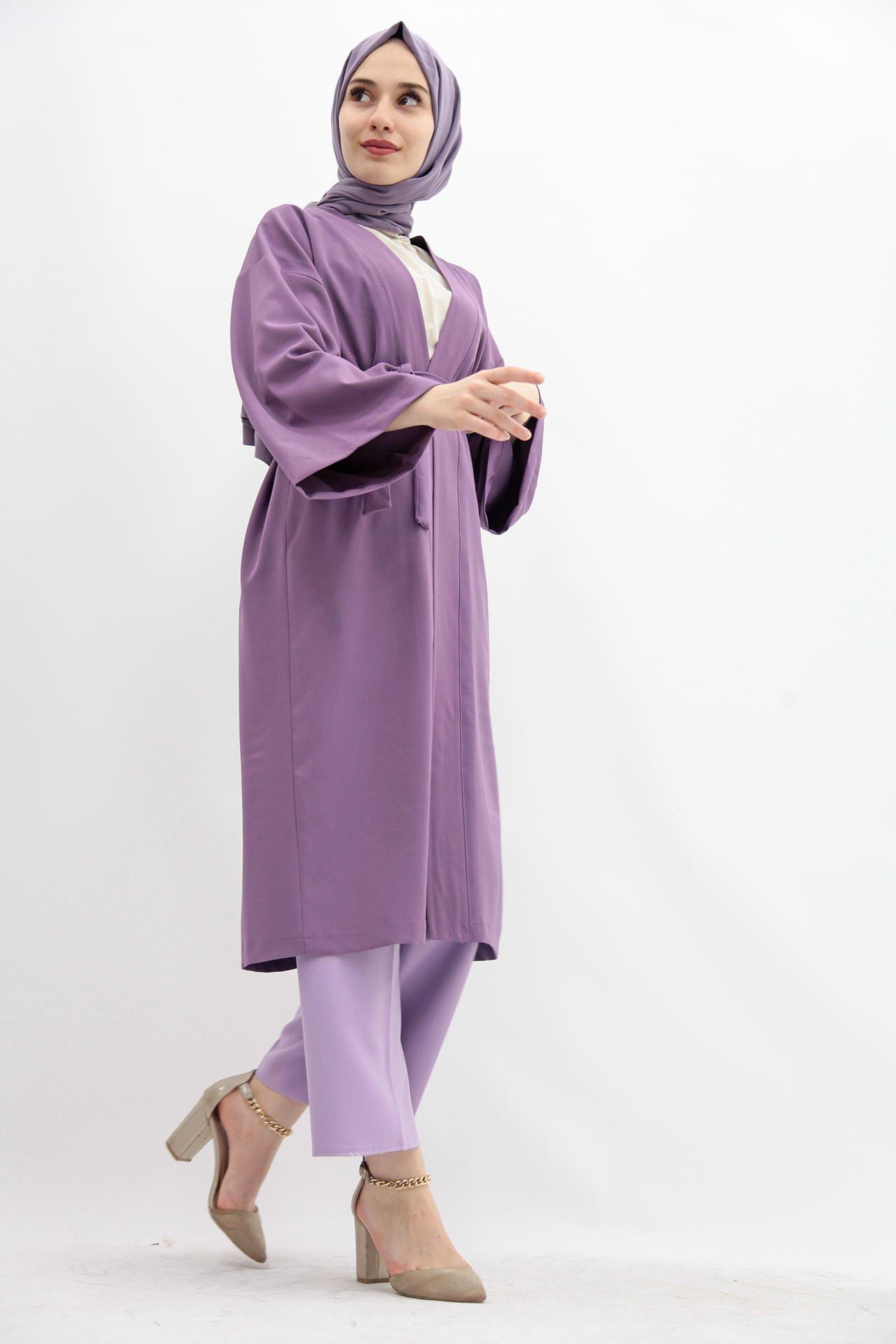 GİZAGİYİM - Kuşaklı Kimono Lila