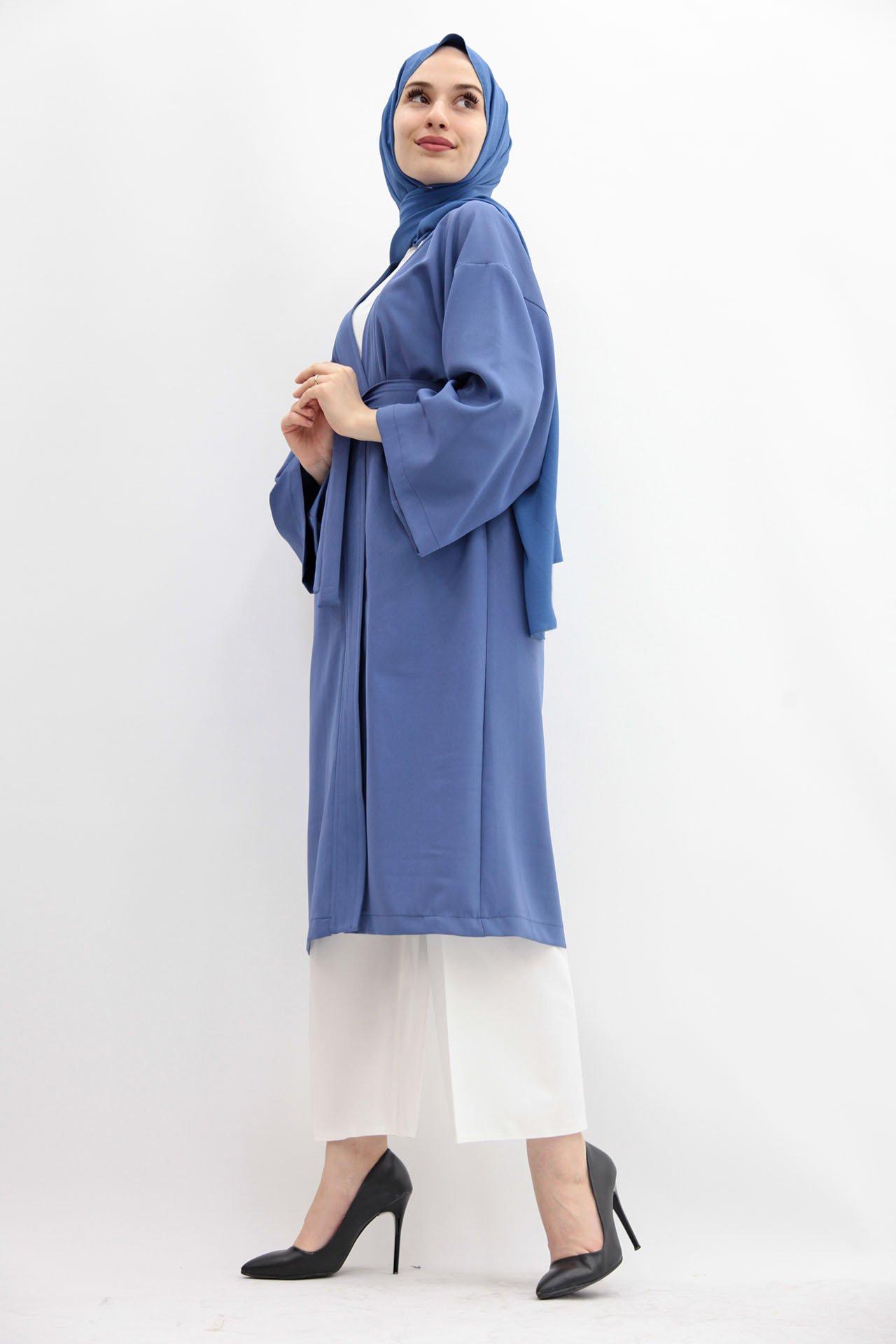 GİZAGİYİM - Kuşaklı Kimono İndigo