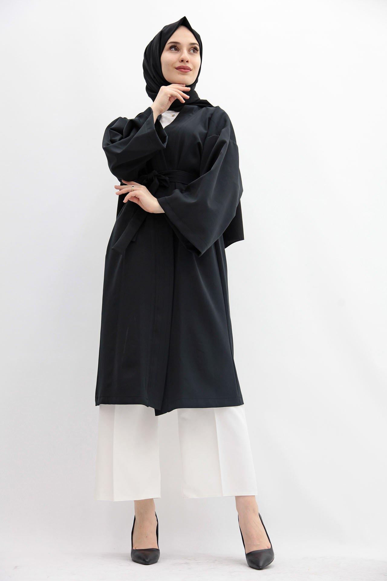 GİZAGİYİM - Kuşaklı Kimono Siyah