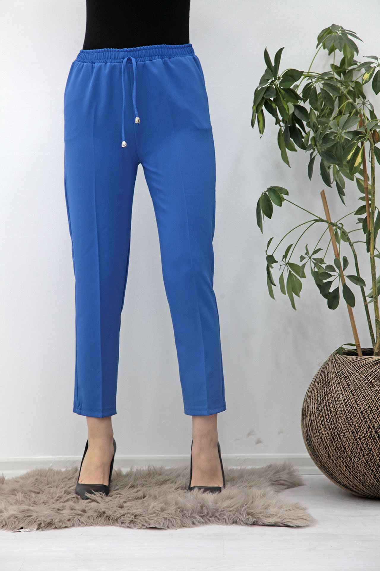 GİZAGİYİM - Beli Lastikli Kalem Pantolon Mavi