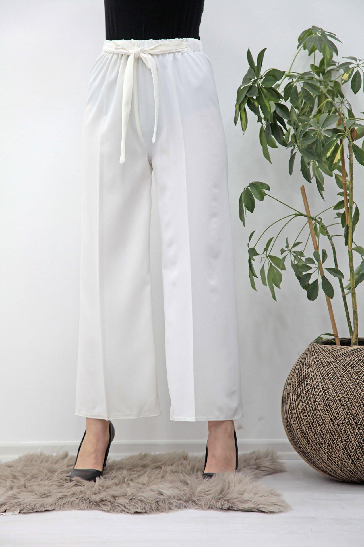 GİZAGİYİM - Belden İpli Bol Paça Pantolon Beyaz