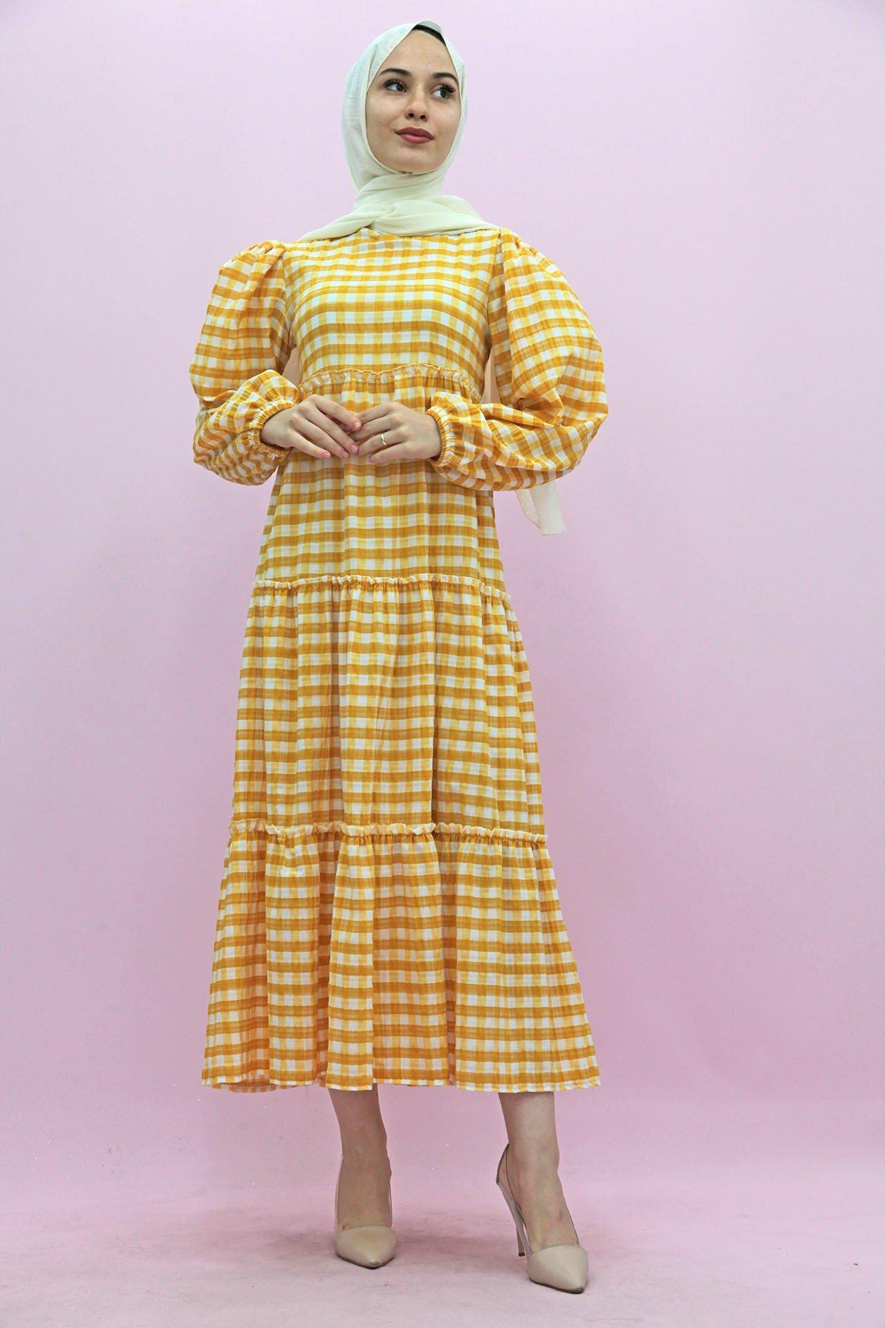 GİZAGİYİM - Ekose Kat Kat Elbise Sarı