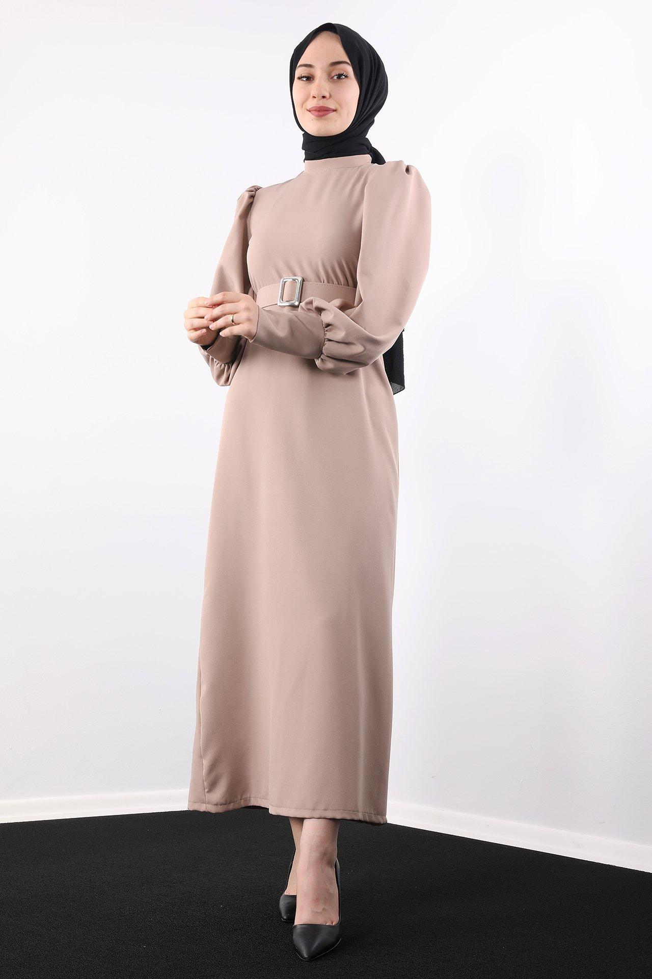 GİZAGİYİM - Kemerli Düz Elbise Vizon