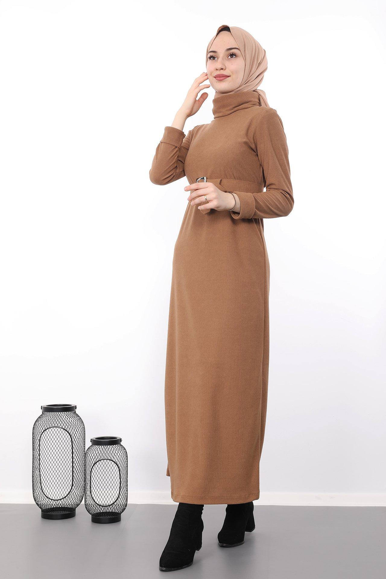 GİZAGİYİM - Kolları Katlı Tesettür Elbise Bisküvi