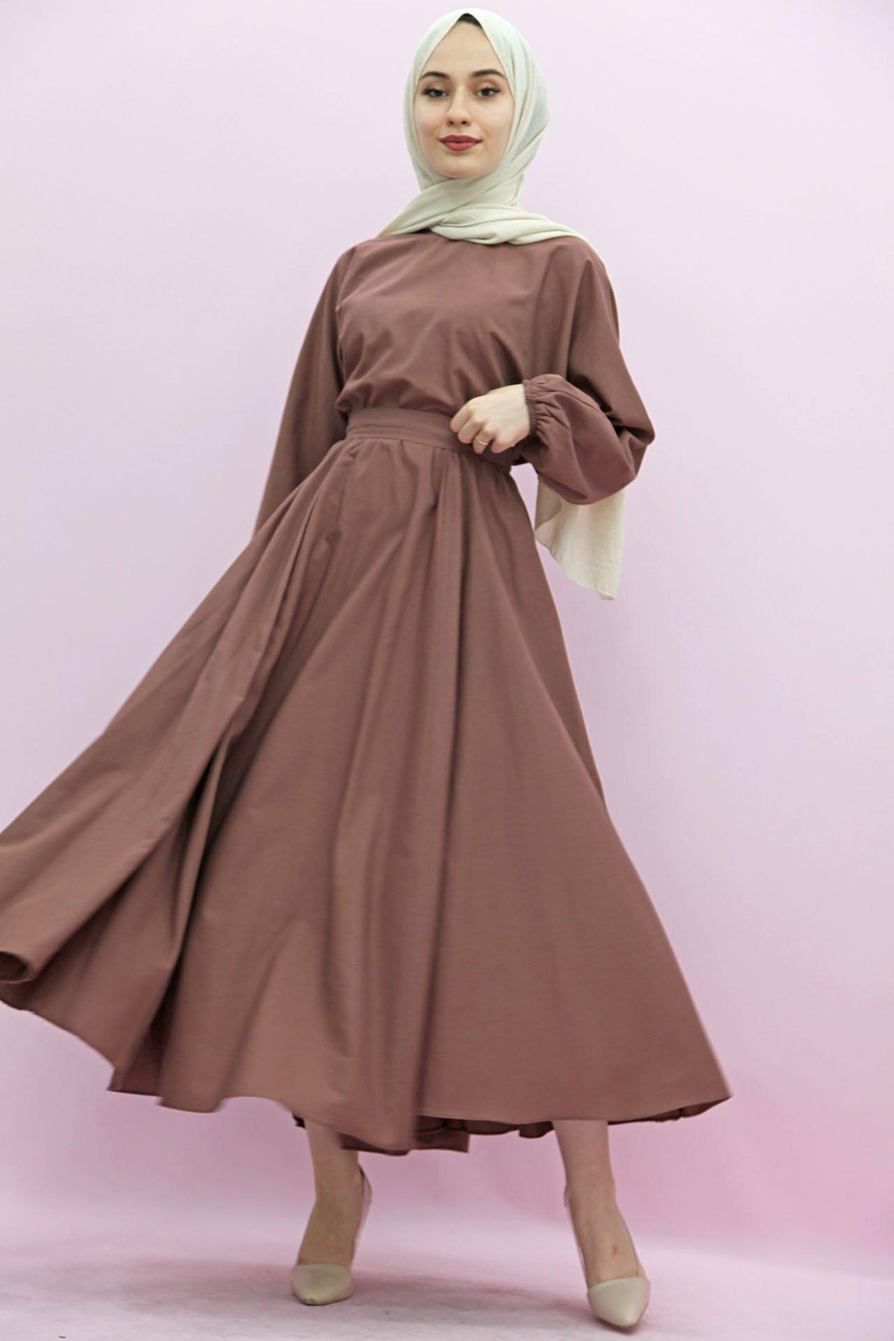 GİZAGİYİM - Beli Lastikli Kloş Tesettür Elbise Gül Kahve
