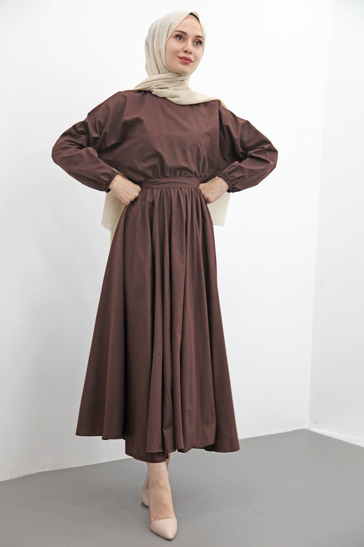 GİZAGİYİM - Giza Beli Lastikli Kloş Tesettür Elbise Kahverengi