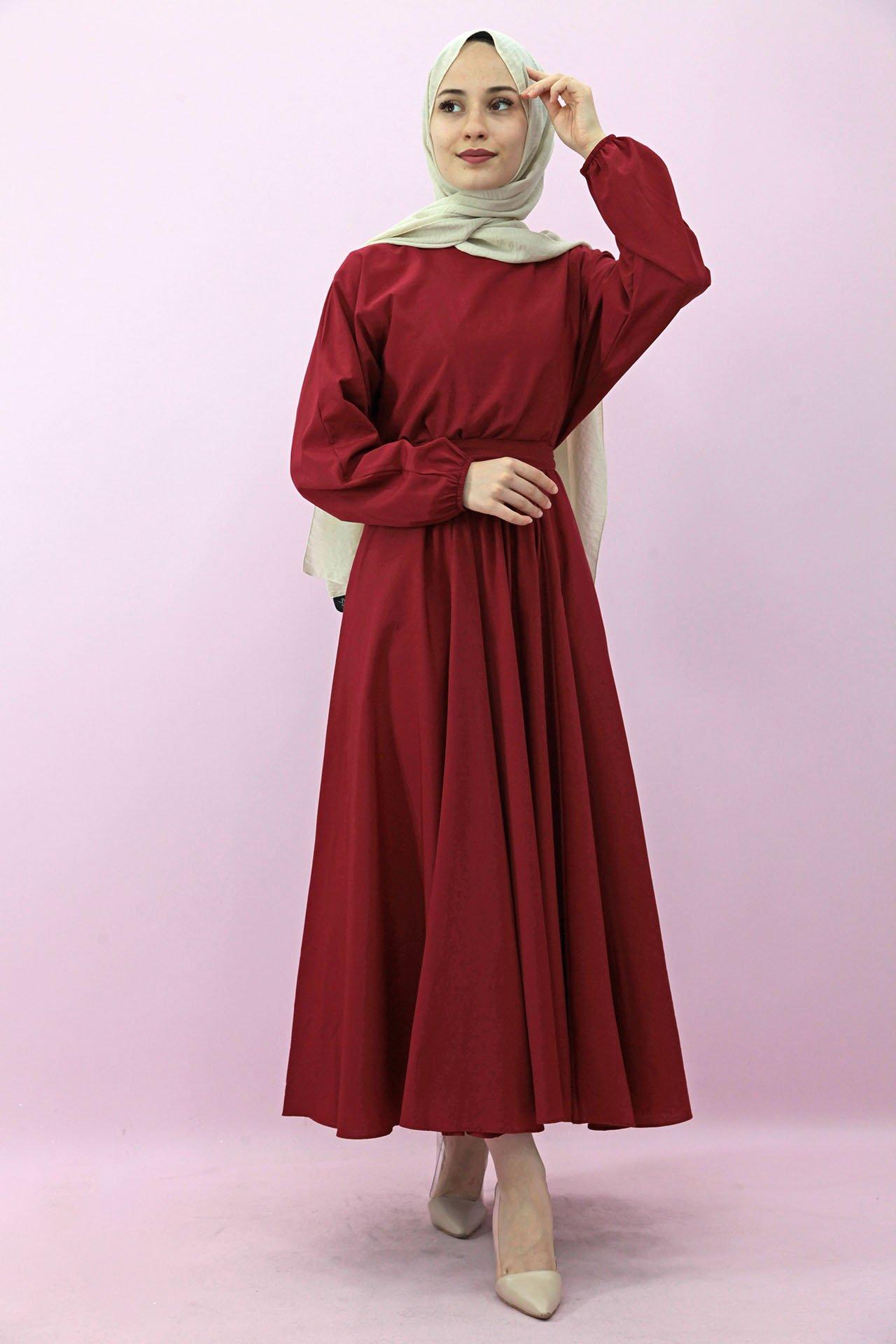 GİZAGİYİM - Giza Beli Lastikli Kloş Tesettür Elbise Kırmızı