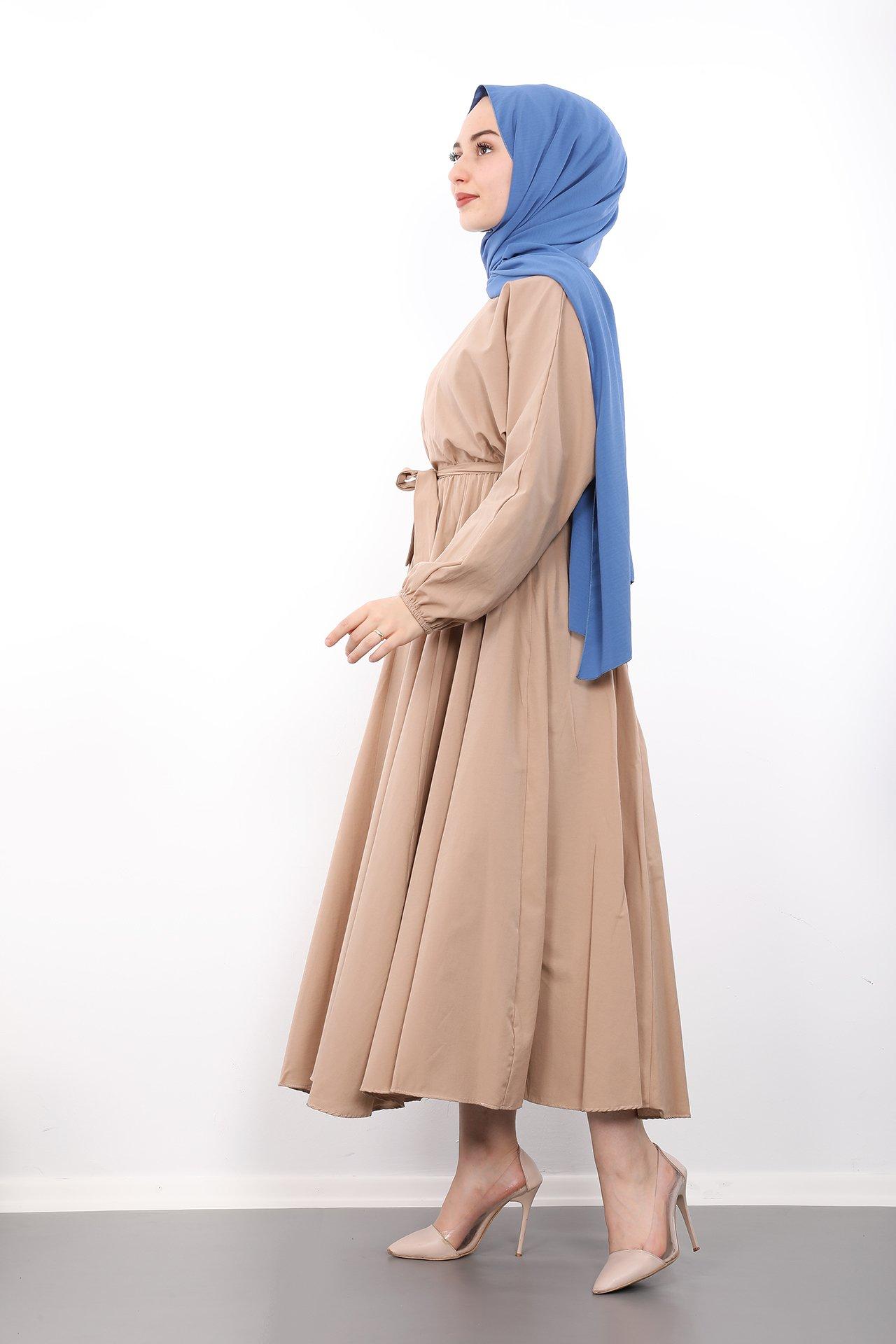 Giza Beli Lastikli Kloş Tesettür Elbise Krem - Thumbnail