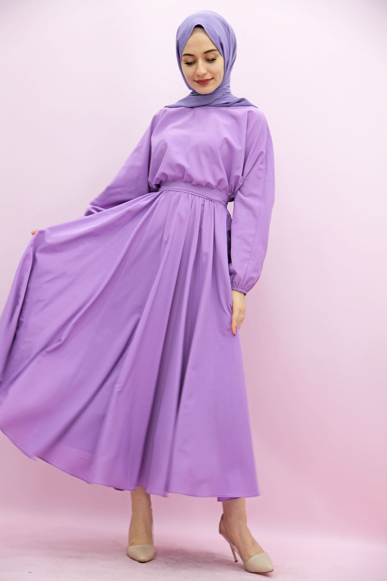 Giza Beli Lastikli Kloş Tesettür Elbise Lila - Thumbnail