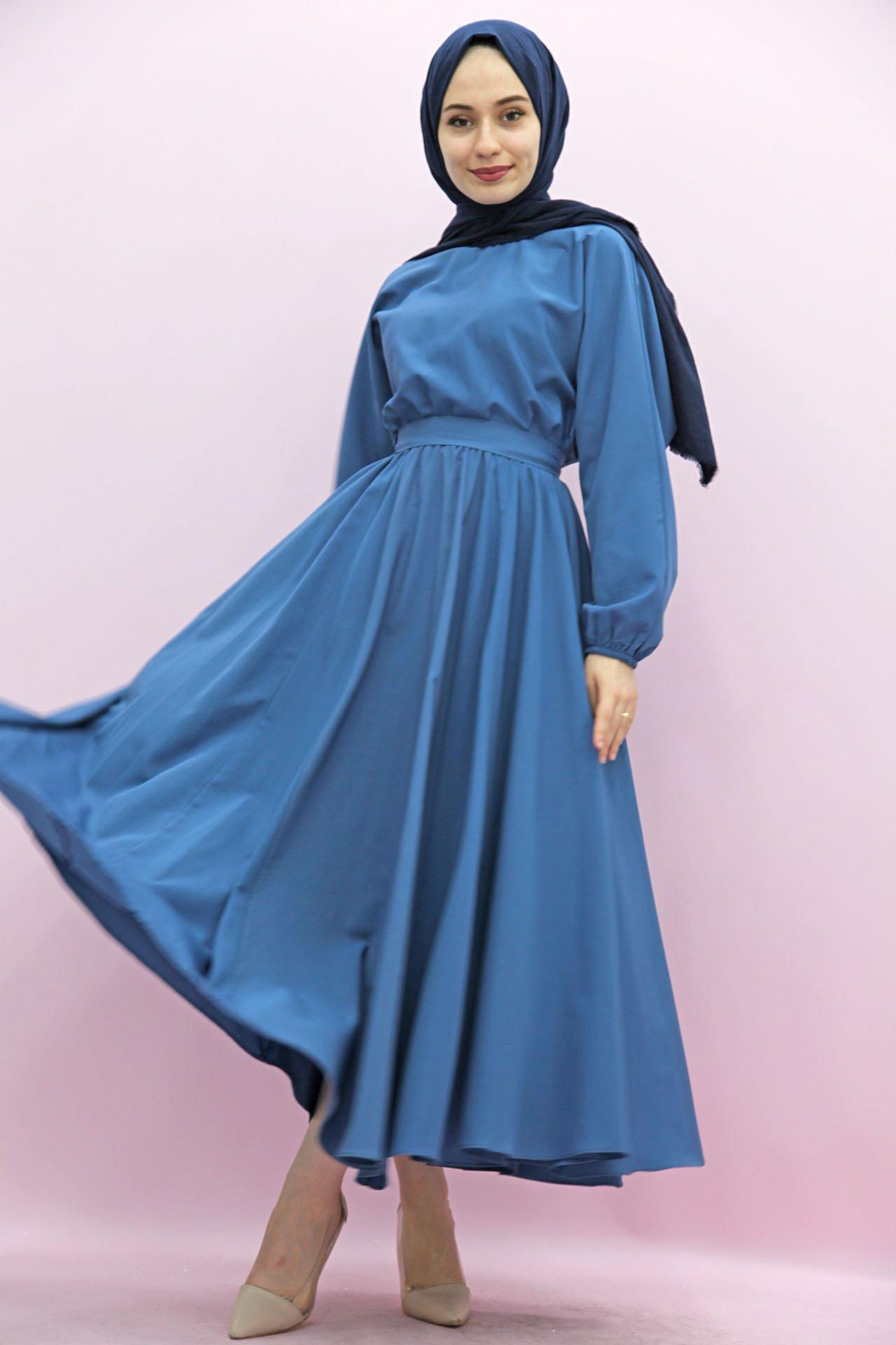 GİZAGİYİM - Giza Beli Lastikli Kloş Tesettür Elbise Mavi