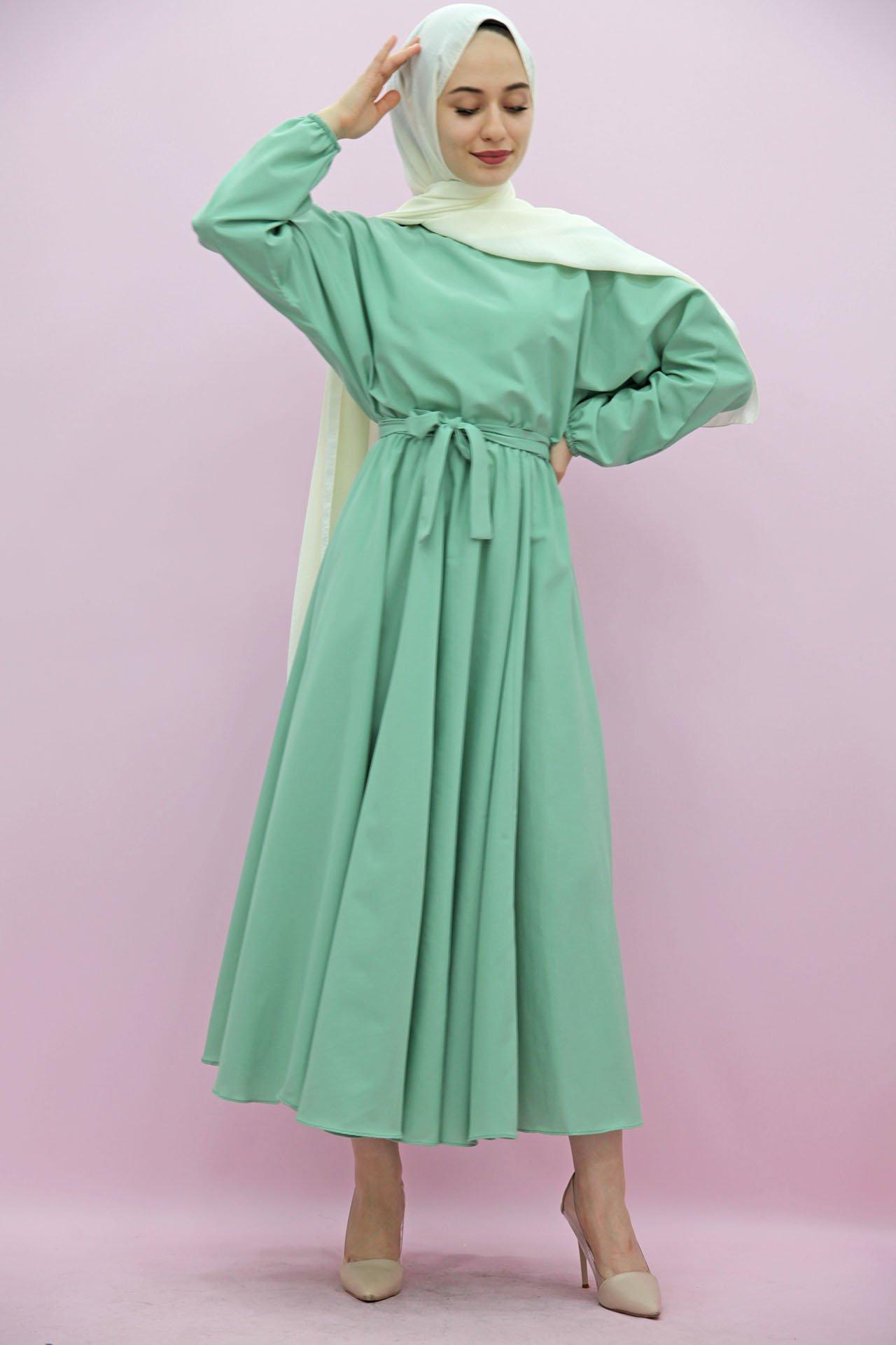 Giza Beli Lastikli Kloş Tesettür Elbise Su Yeşil - Thumbnail